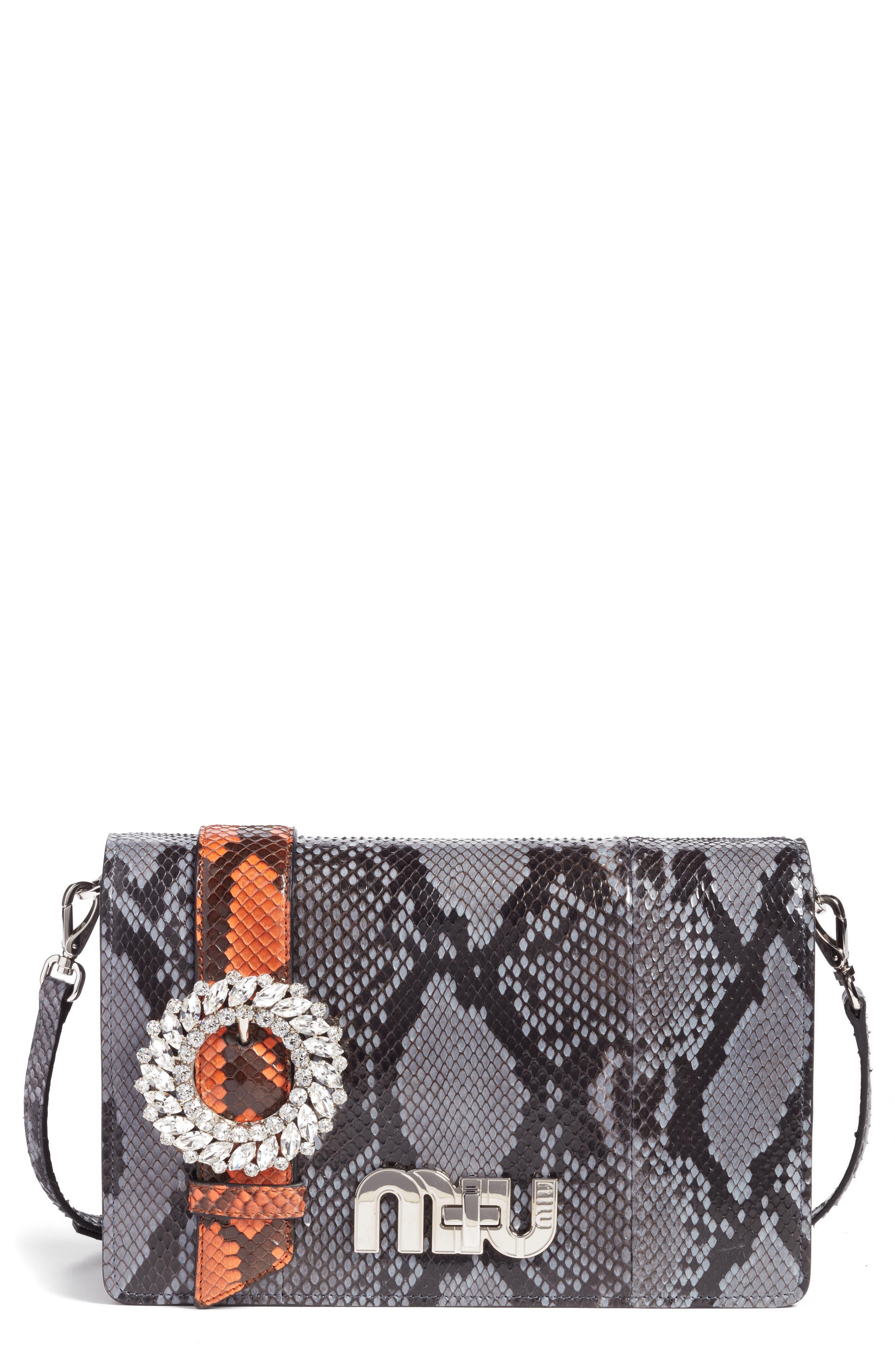 Main Image - Miu Miu Genuine Python Shoulder Bag