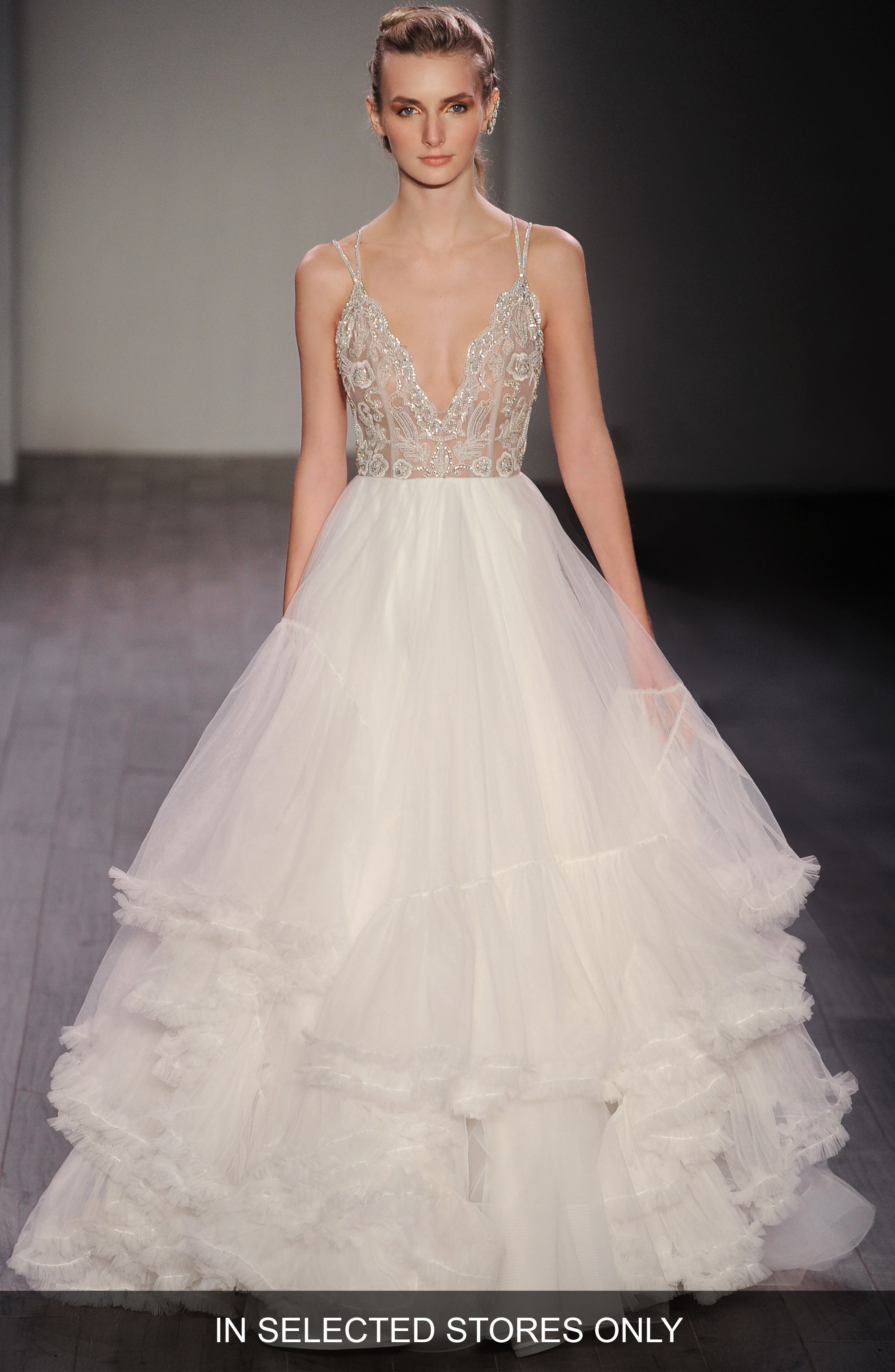 Georgie Embellished Bodice Tulle Ballgown,                             Main thumbnail 1, color,                             Ivory