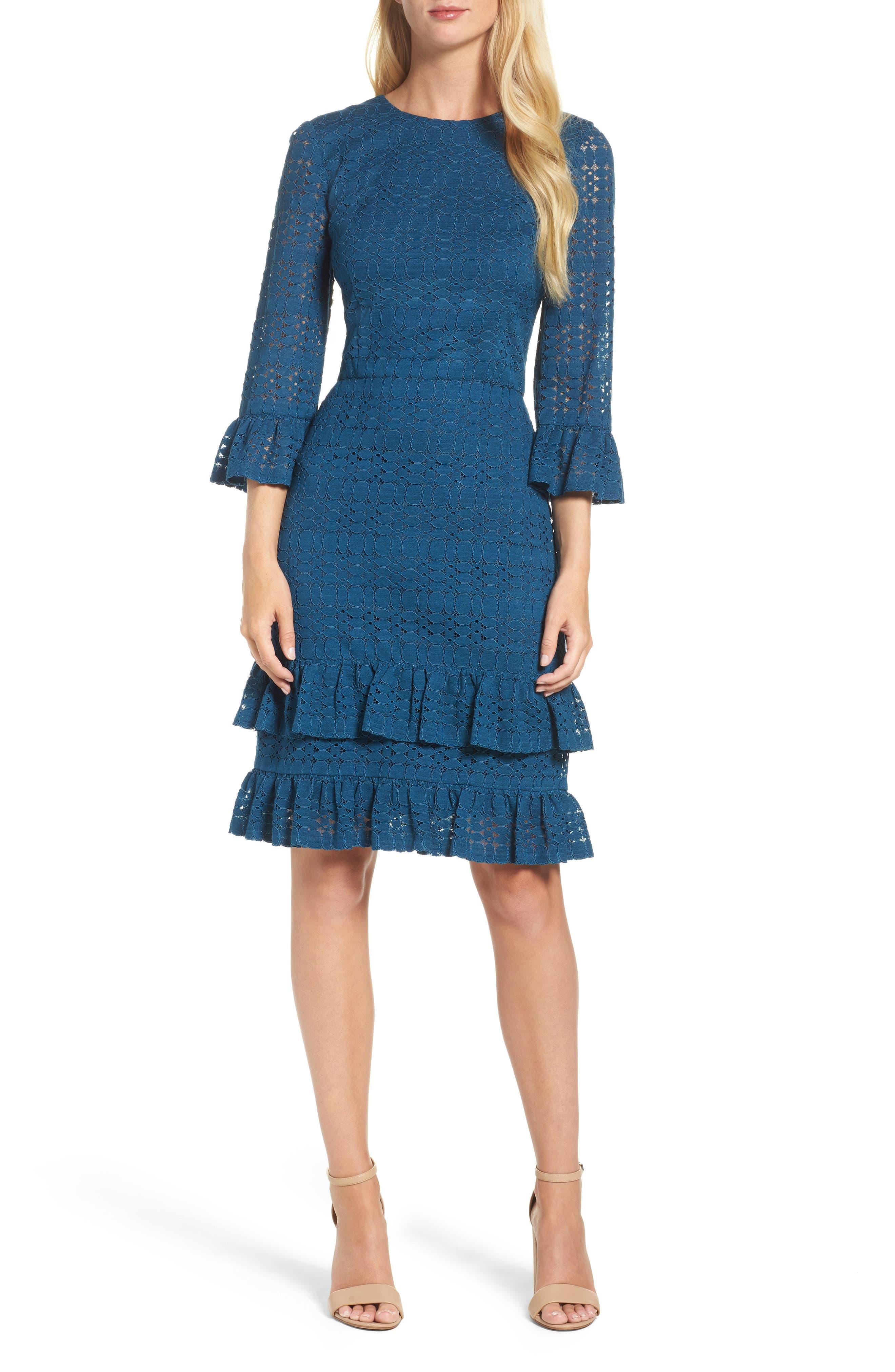 Ruffle Lace Sheath Dress,                         Main,                         color, Harbor Blue