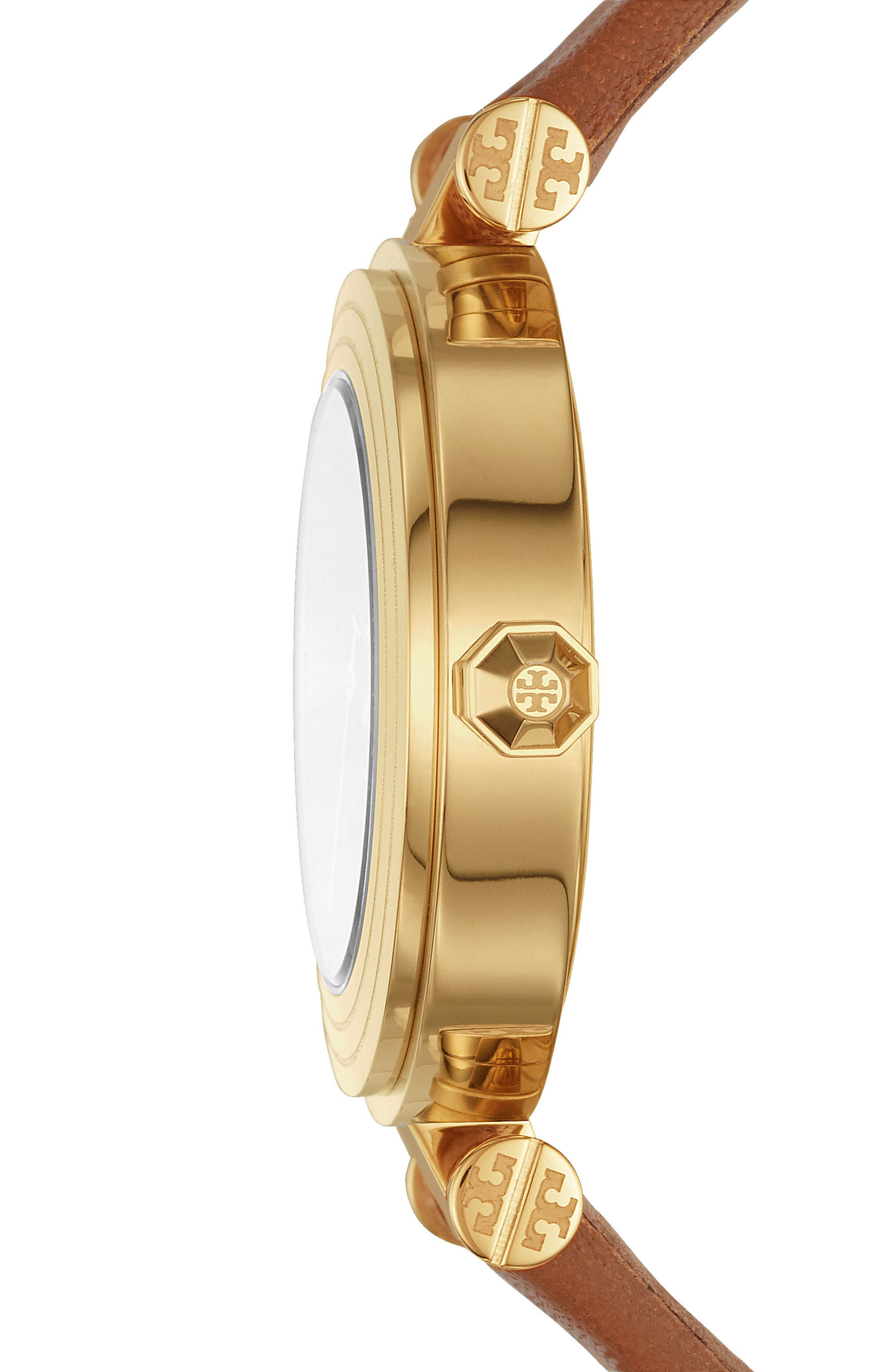 Alternate Image 2  - Tory Burch Classic-T Leather Strap Watch, 30mm