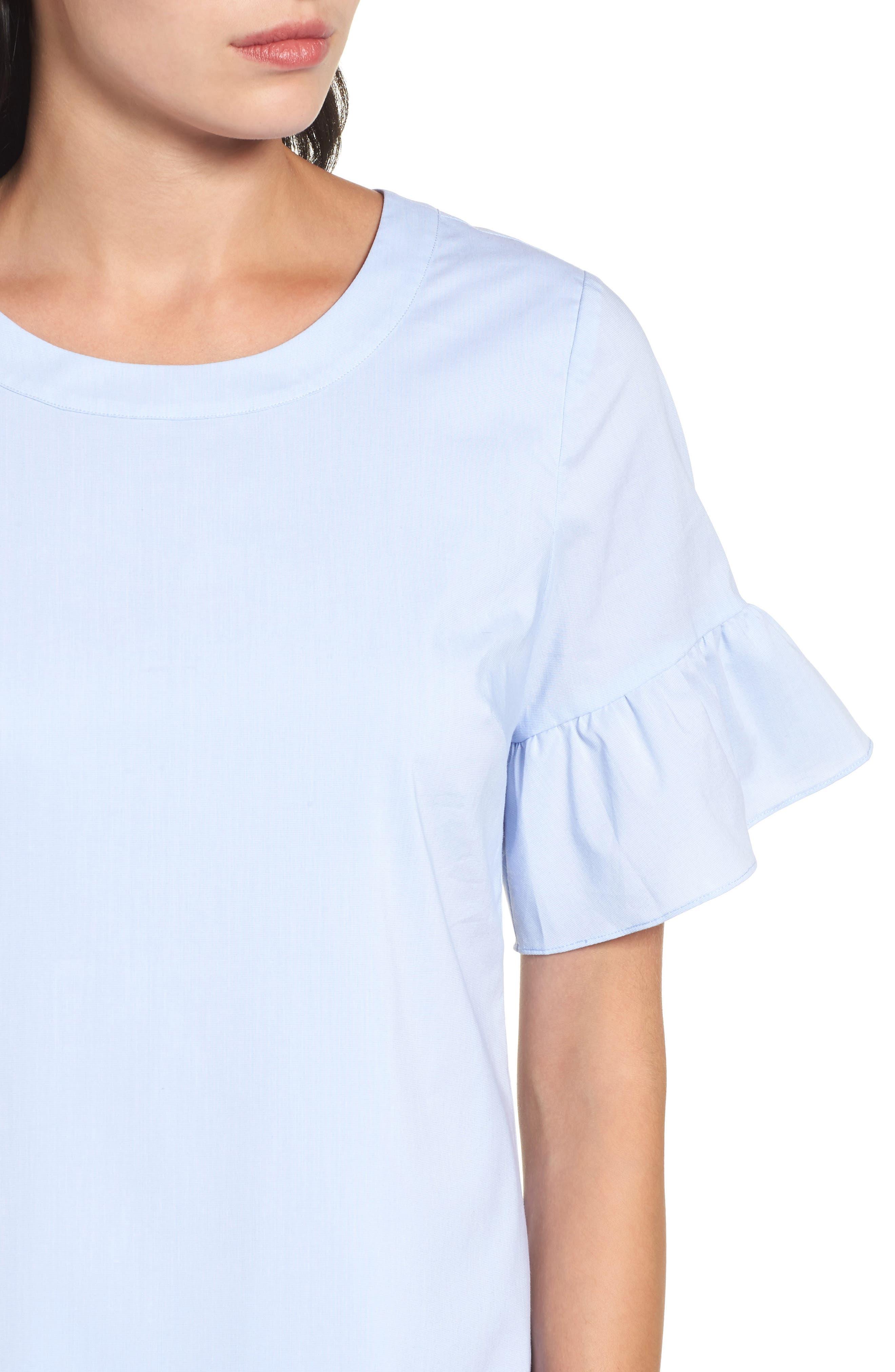 Alternate Image 4  - Halogen® Tie Back Ruffle Sleeve Dress (Regular & Petite)