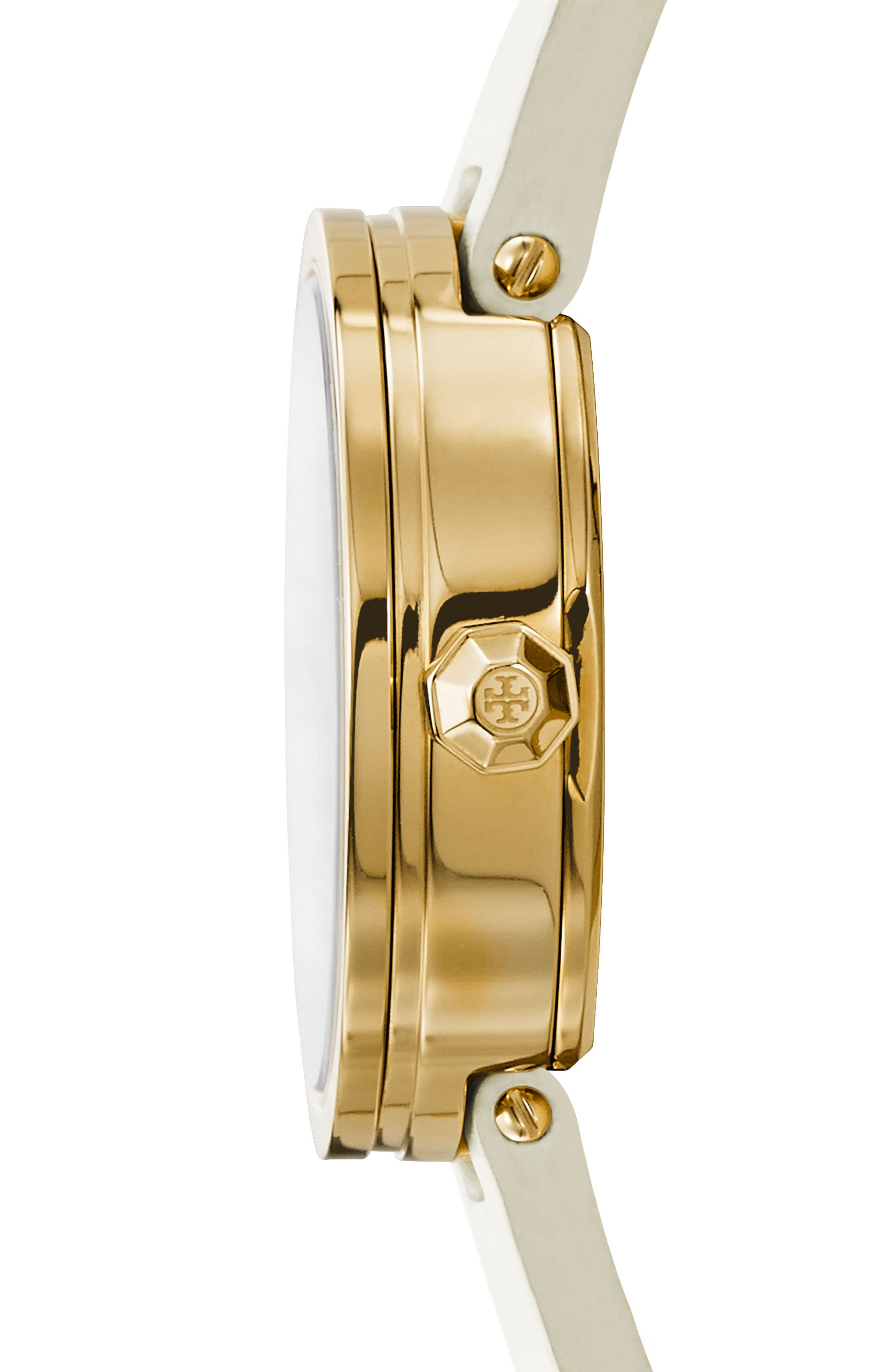 Alternate Image 2  - Tory Burch Reva Logo Dial Leather Strap Watch, 36mm