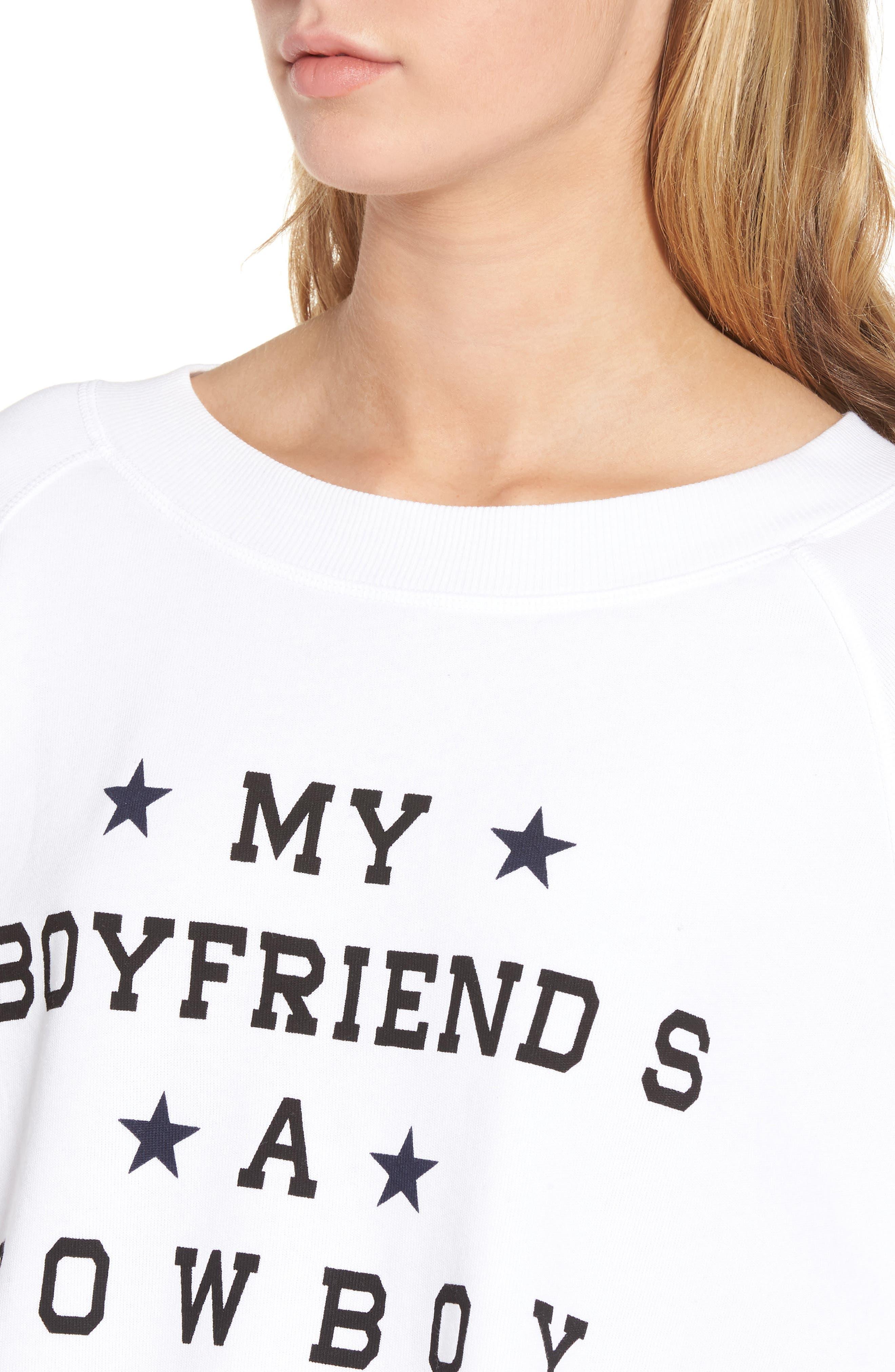 My Boyfriend's a Cowboy Crop Sweatshirt,                             Alternate thumbnail 4, color,                             Cowboy White