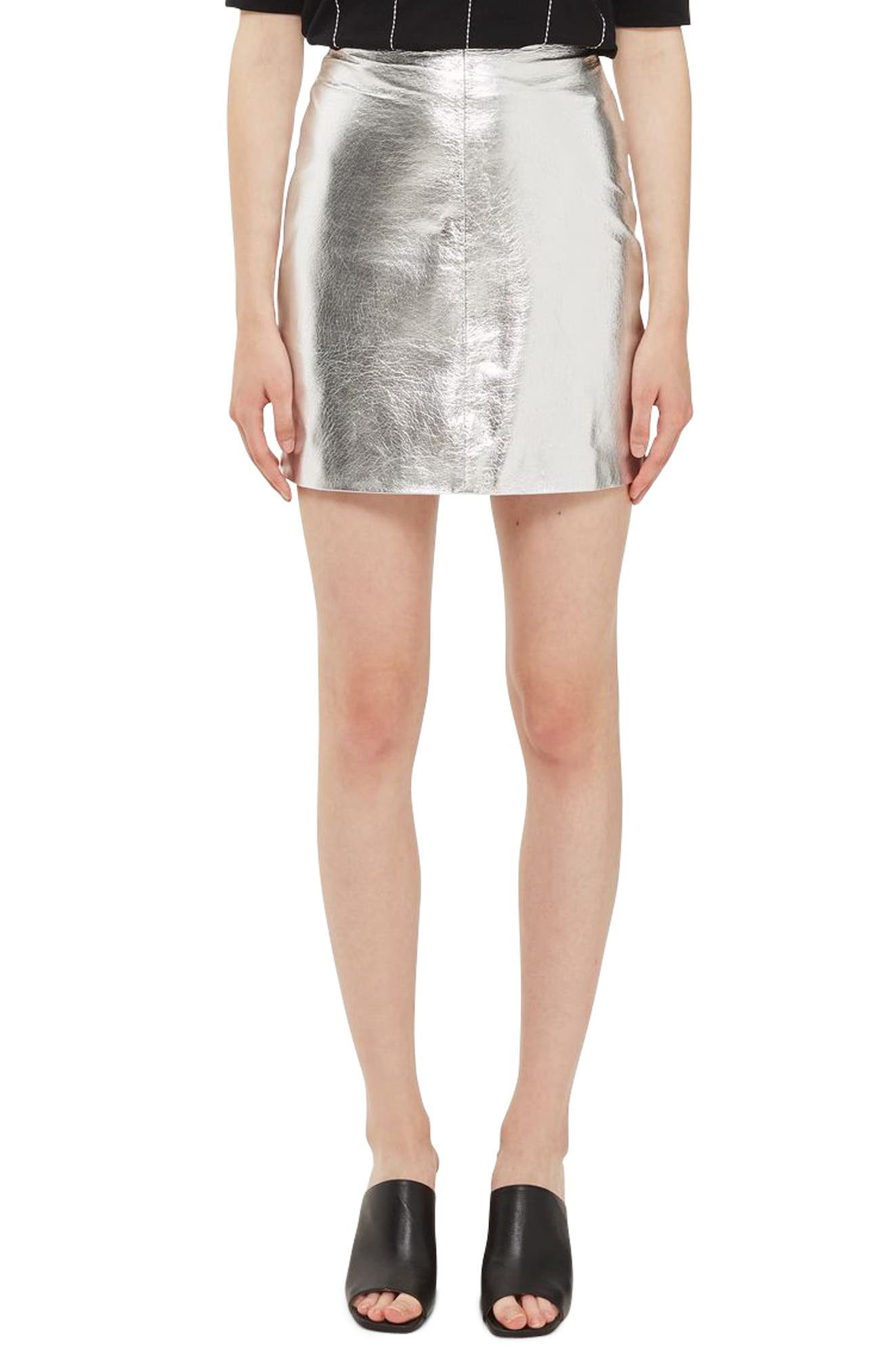 Topshop Boutique Metallic Leather Miniskirt