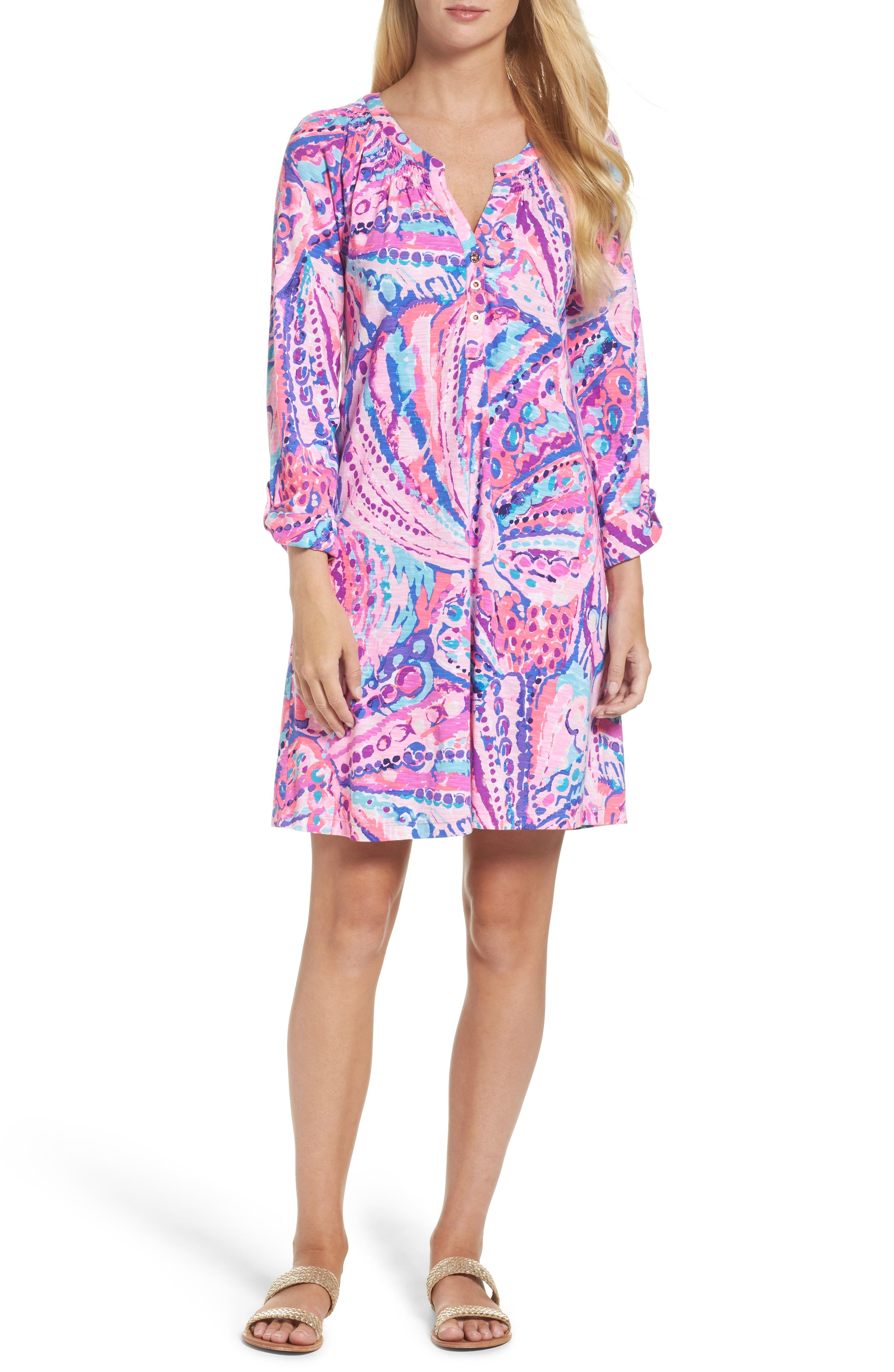 Essie Roll Sleeve Shift Dress,                         Main,                         color, Colony Coral