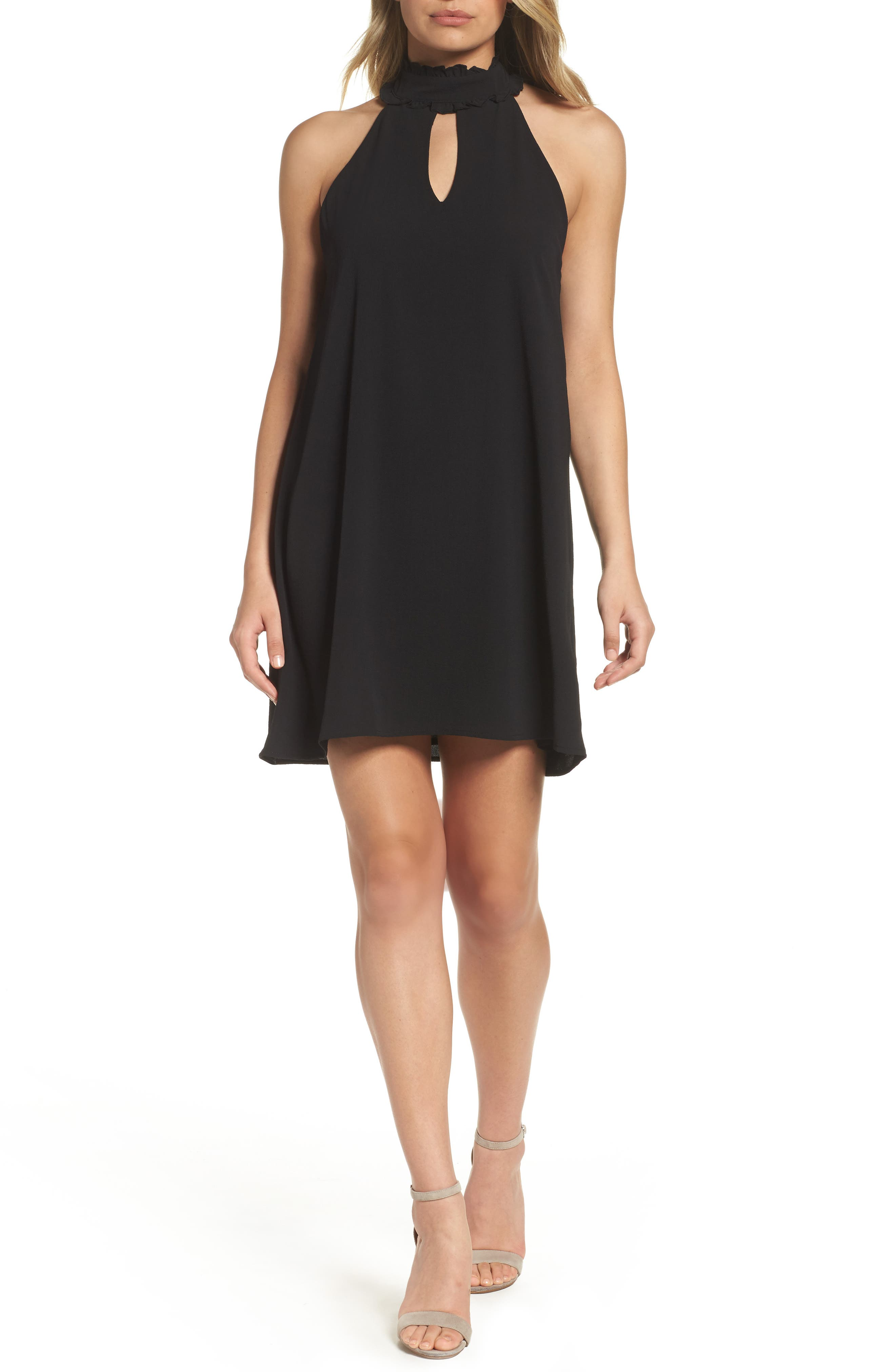 Sleeveless Choker Collar Trapeze Dress,                         Main,                         color, Black