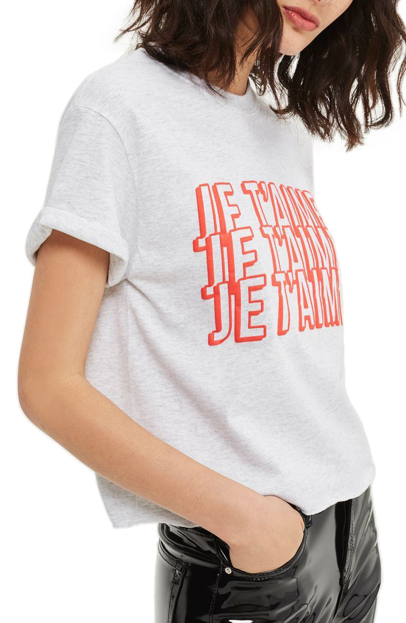 Je T'aime Graphic Crop Tee,                             Alternate thumbnail 3, color,                             Light Grey