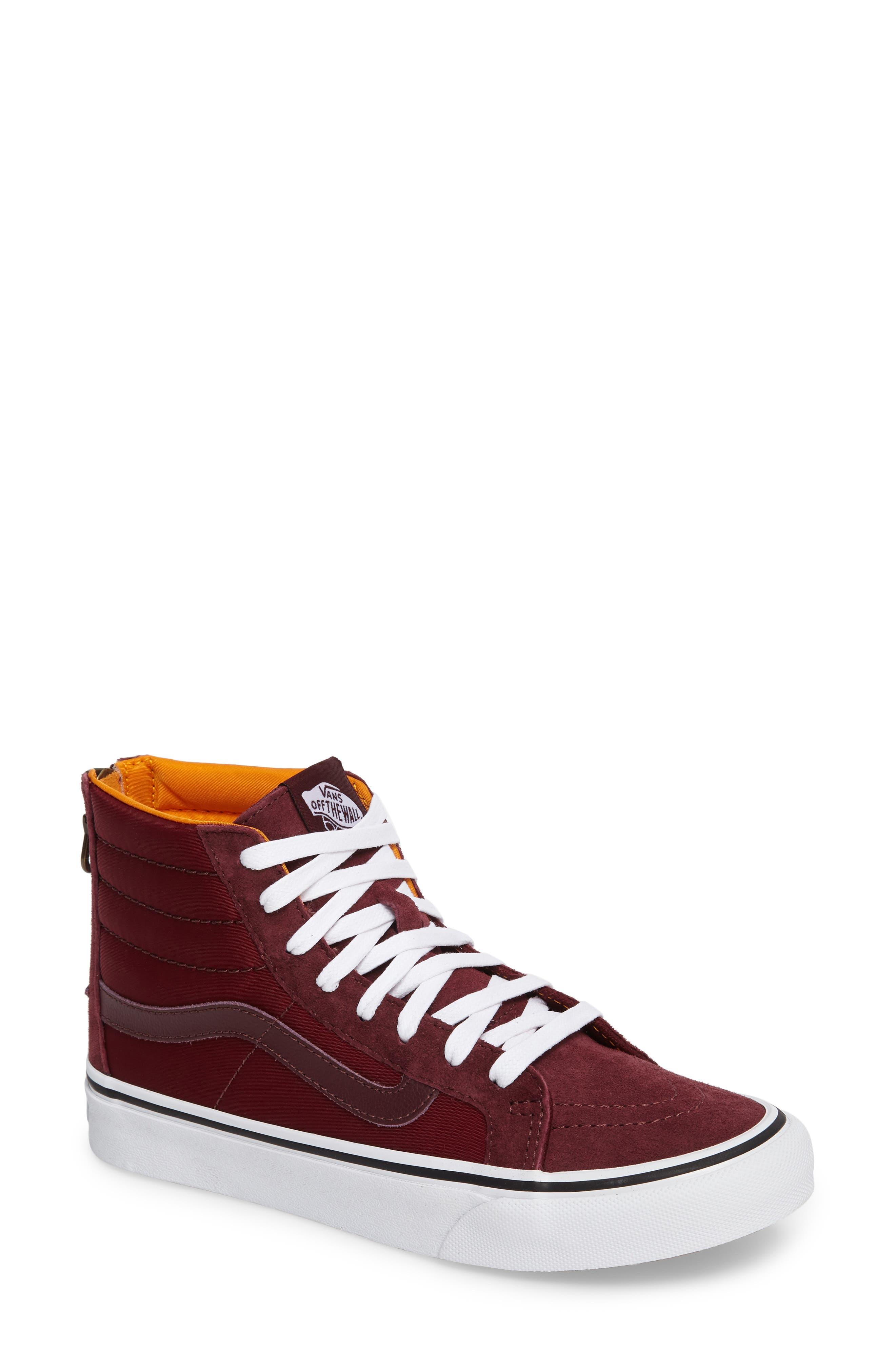 'Sk8-Hi' Slim Zip Sneaker,                         Main,                         color, Port Royale/ True White