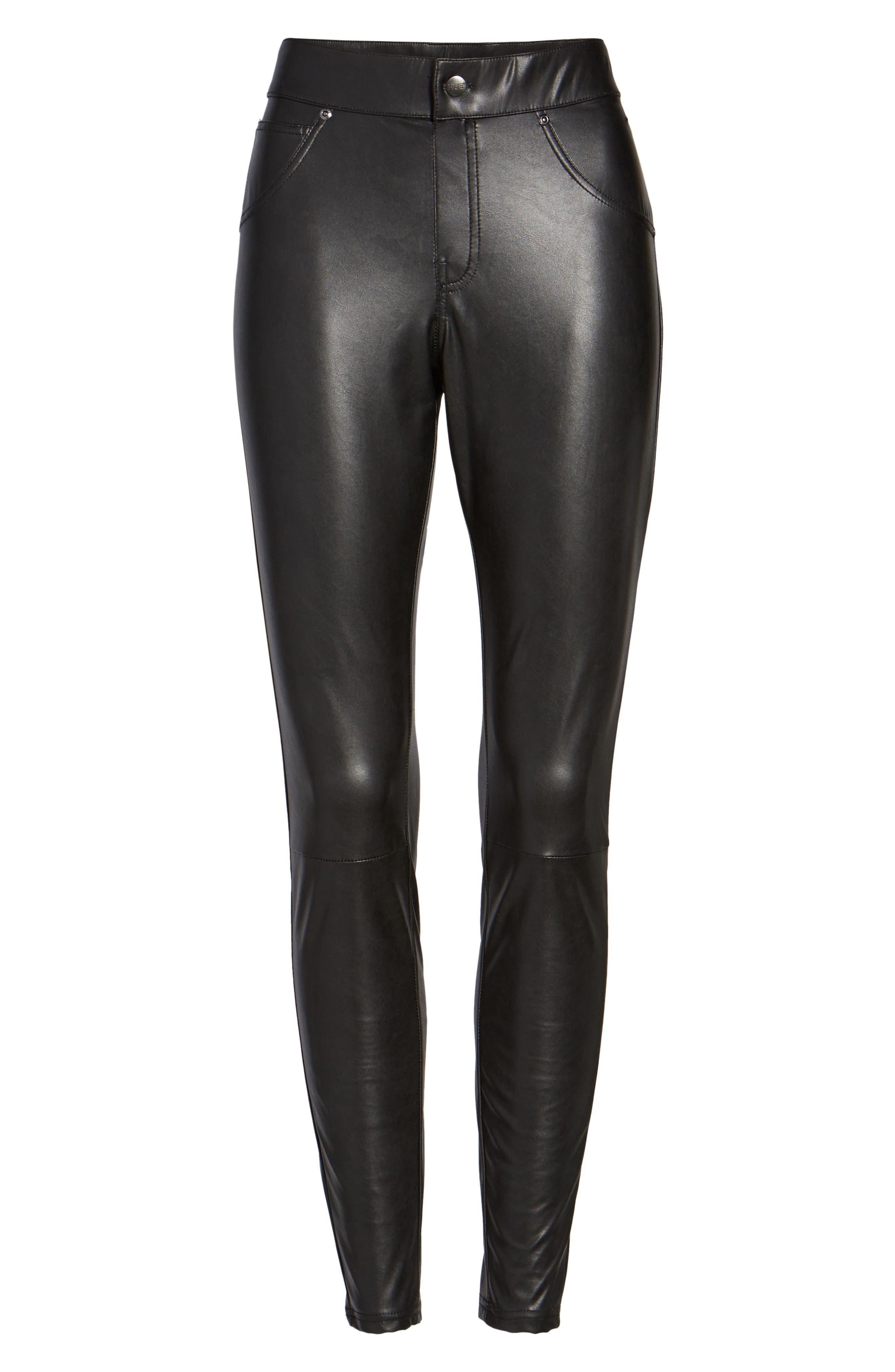 Alternate Image 4  - Hue Leatherette Curvy Leggings