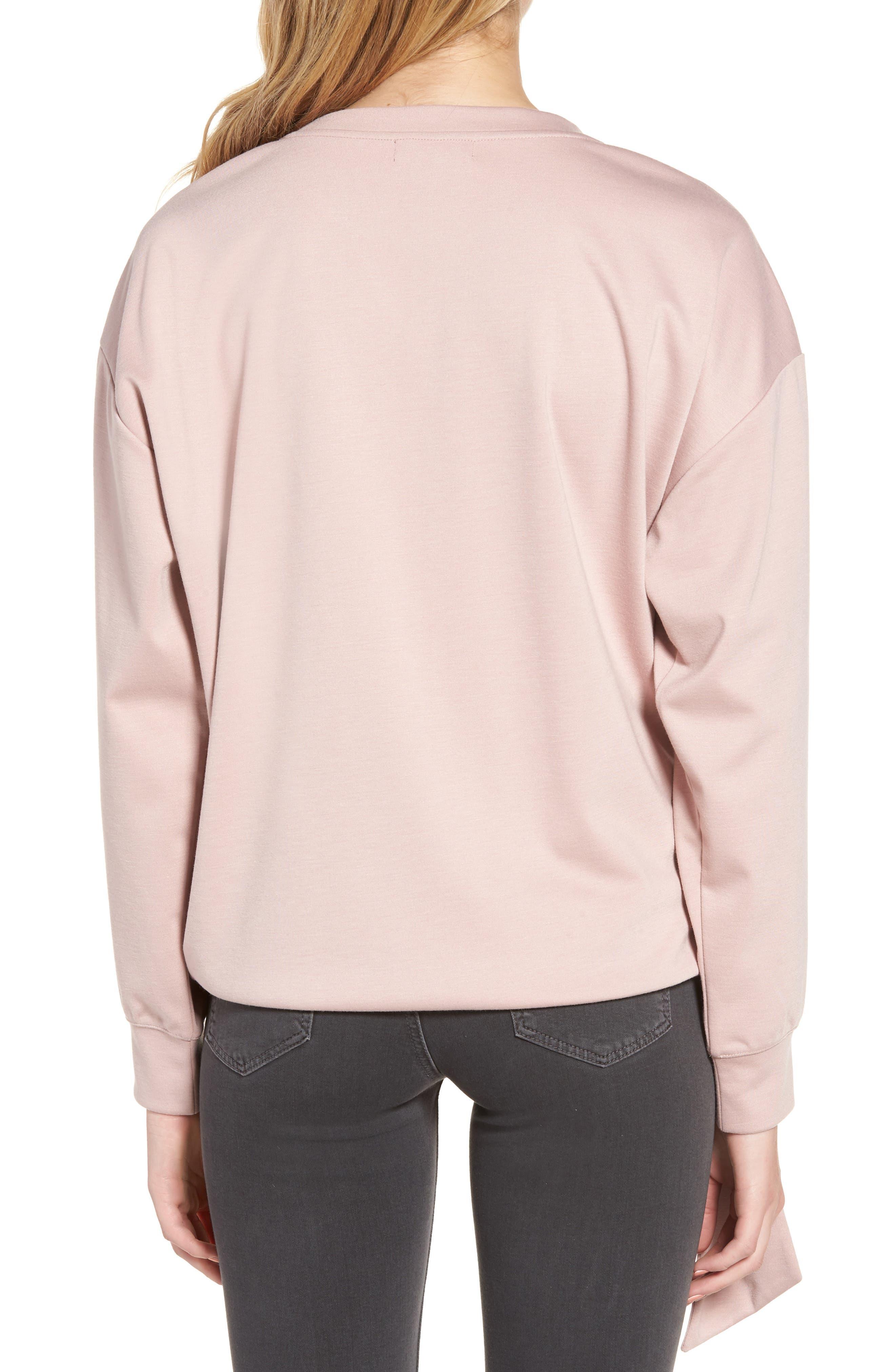 Tie Front Sweatshirt,                             Alternate thumbnail 2, color,                             Pink Adobe