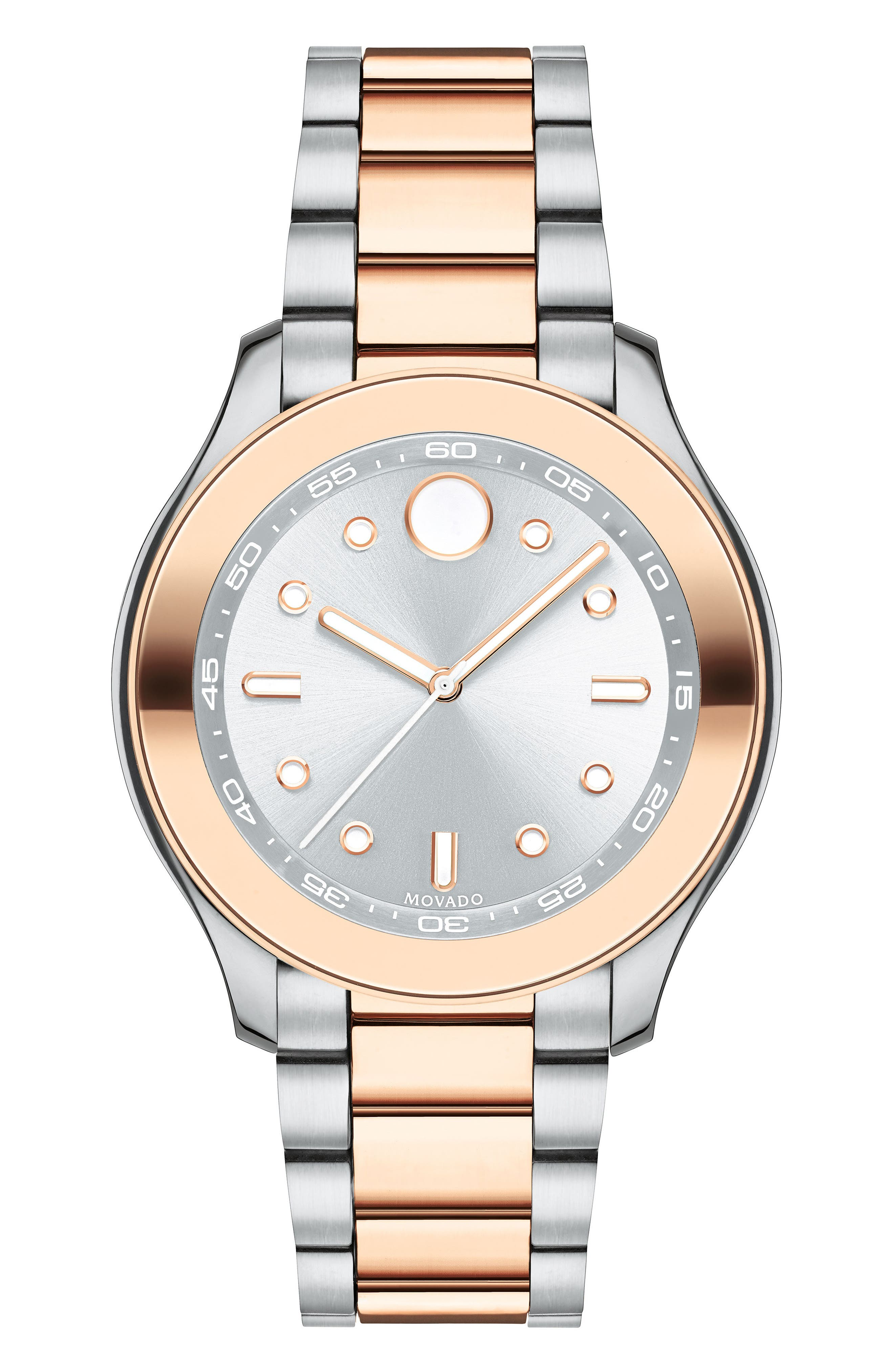 Bold Two-Tone Bracelet Watch, 38mm,                         Main,                         color, Silver/ Rose Gold