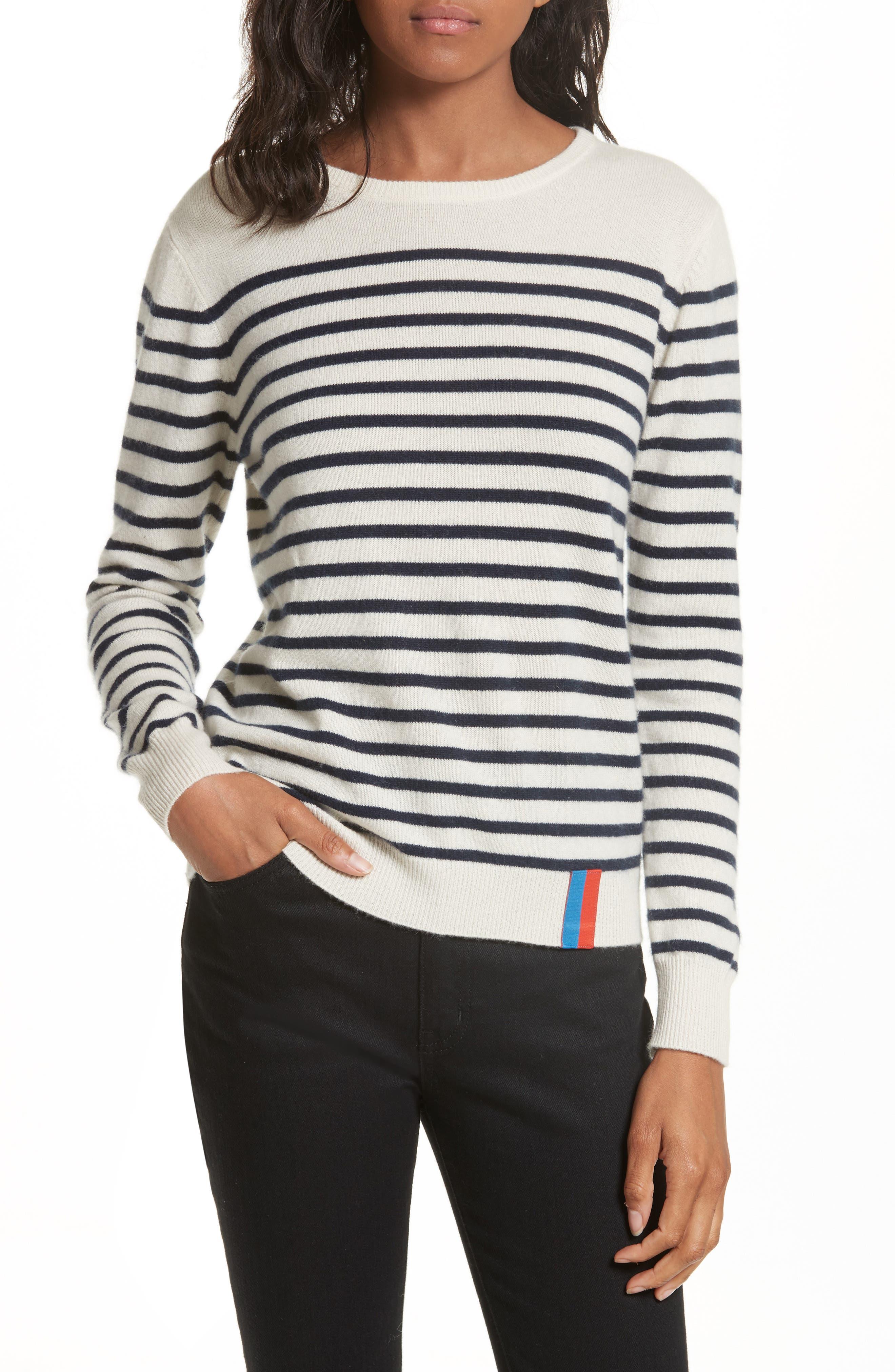 KULE Stripe Cashmere Sweater in Cream/ Navy