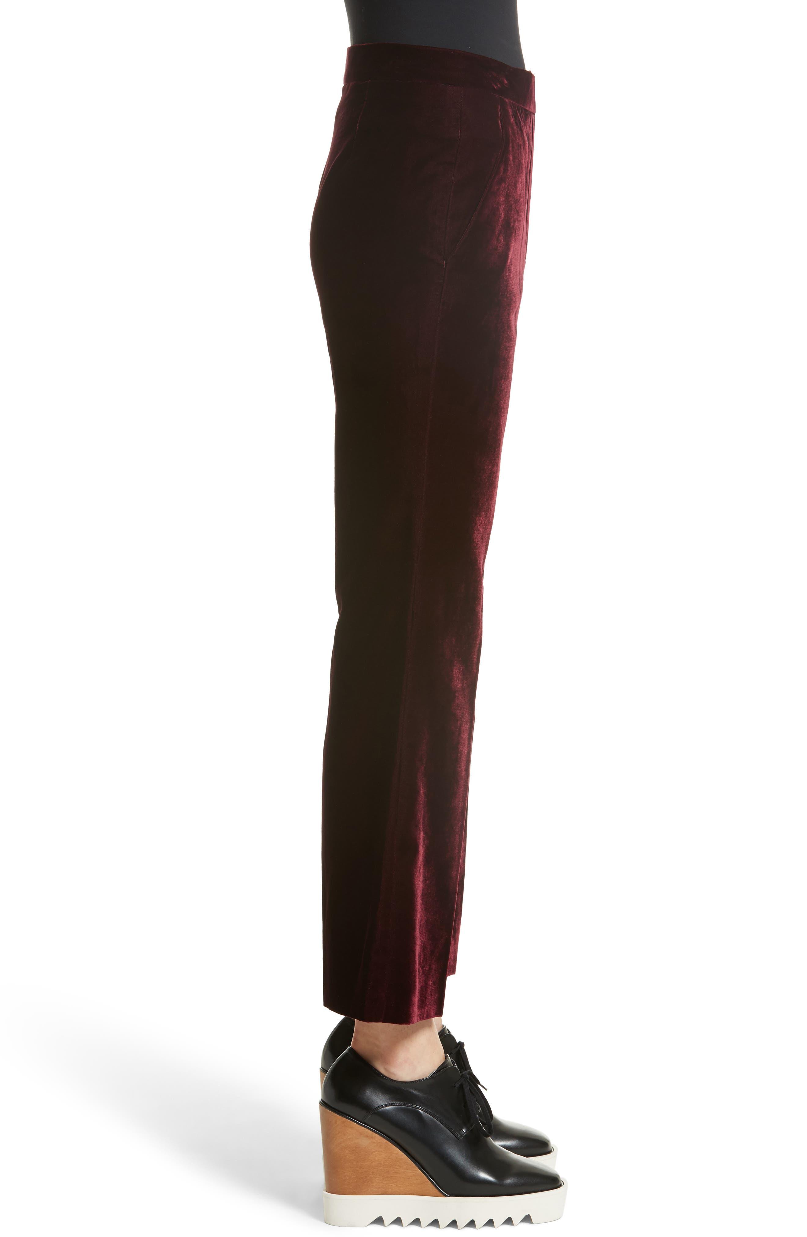 Bonded Velvet Crop Pants,                             Alternate thumbnail 3, color,                             Burgundy