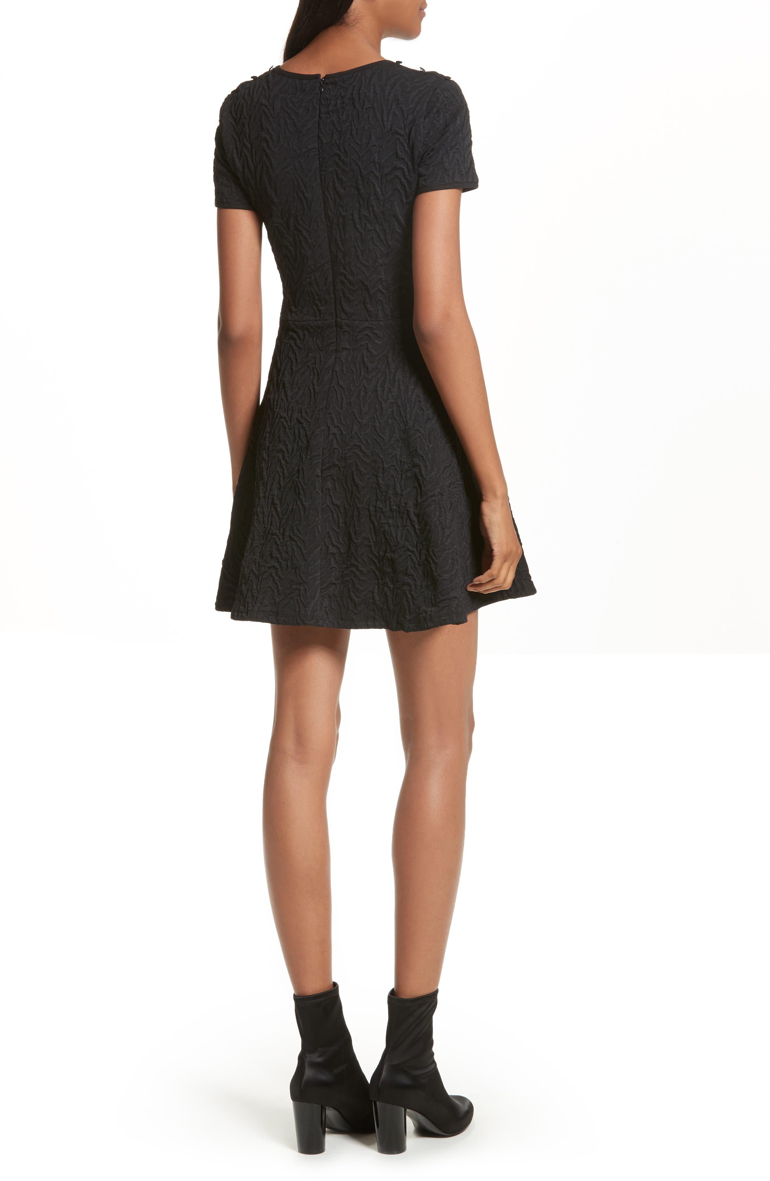 Desert Jacquard Flare Dress,                             Alternate thumbnail 2, color,                             Black