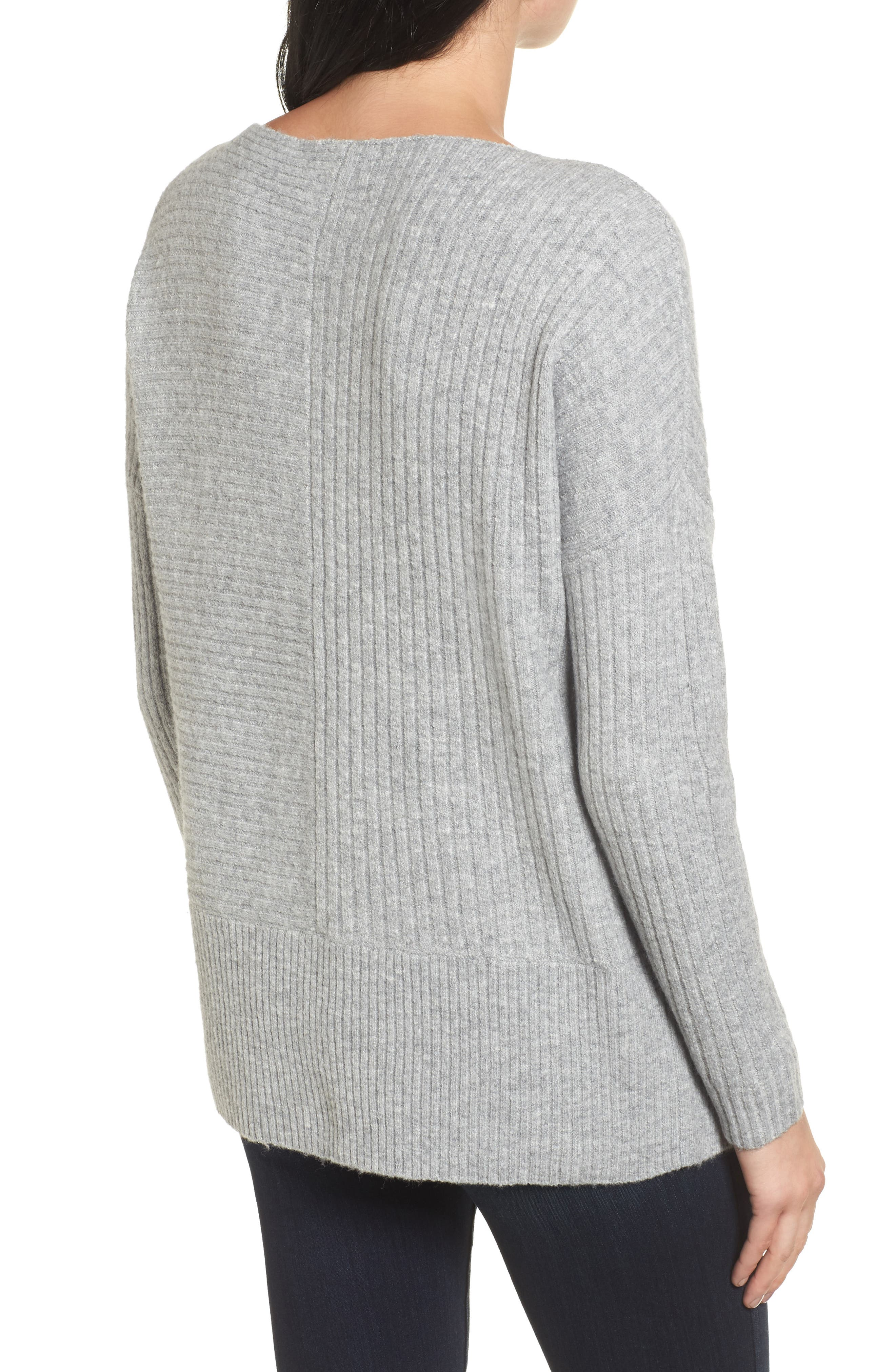 Multi Ribbed Fleece Knit Sweater,                             Alternate thumbnail 2, color,                             Heather Grey