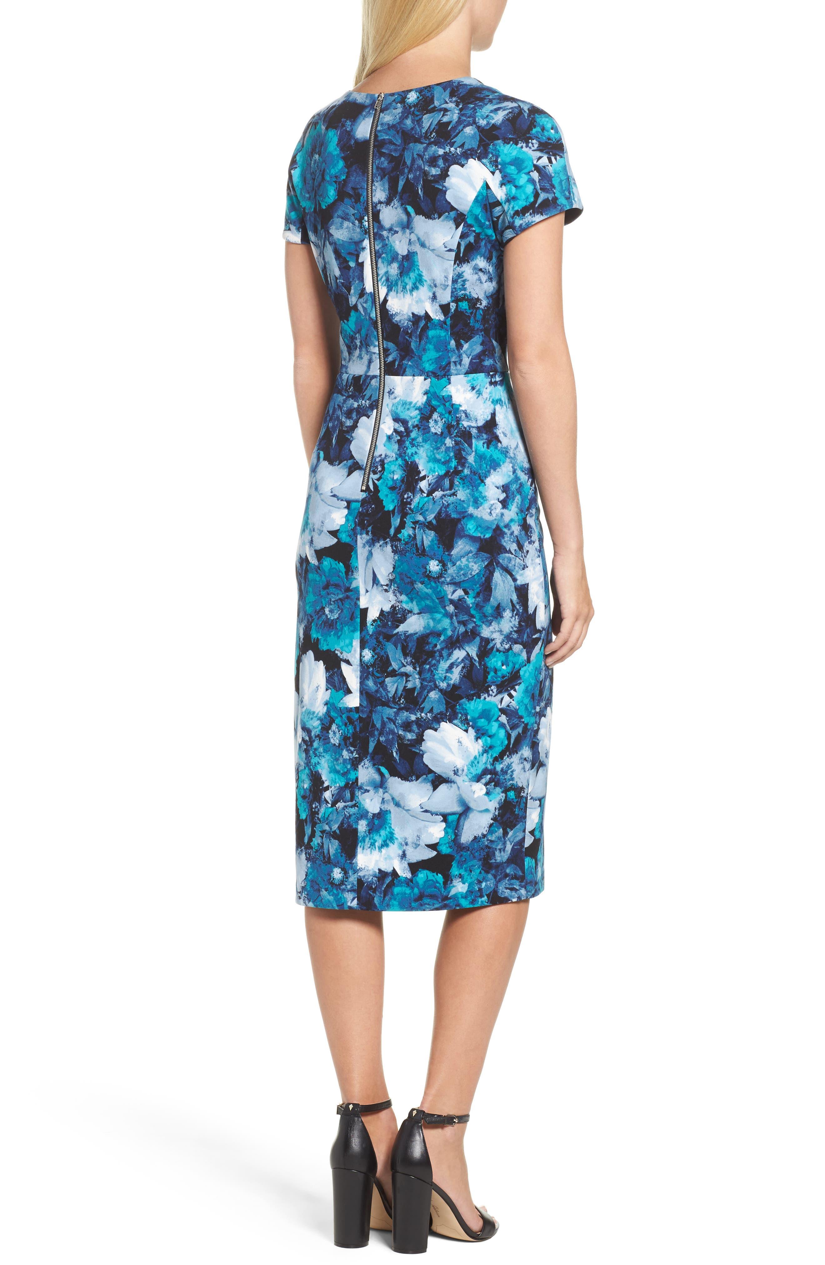 Asymmetrical Sheath Dress,                             Alternate thumbnail 2, color,                             Black/ Blue