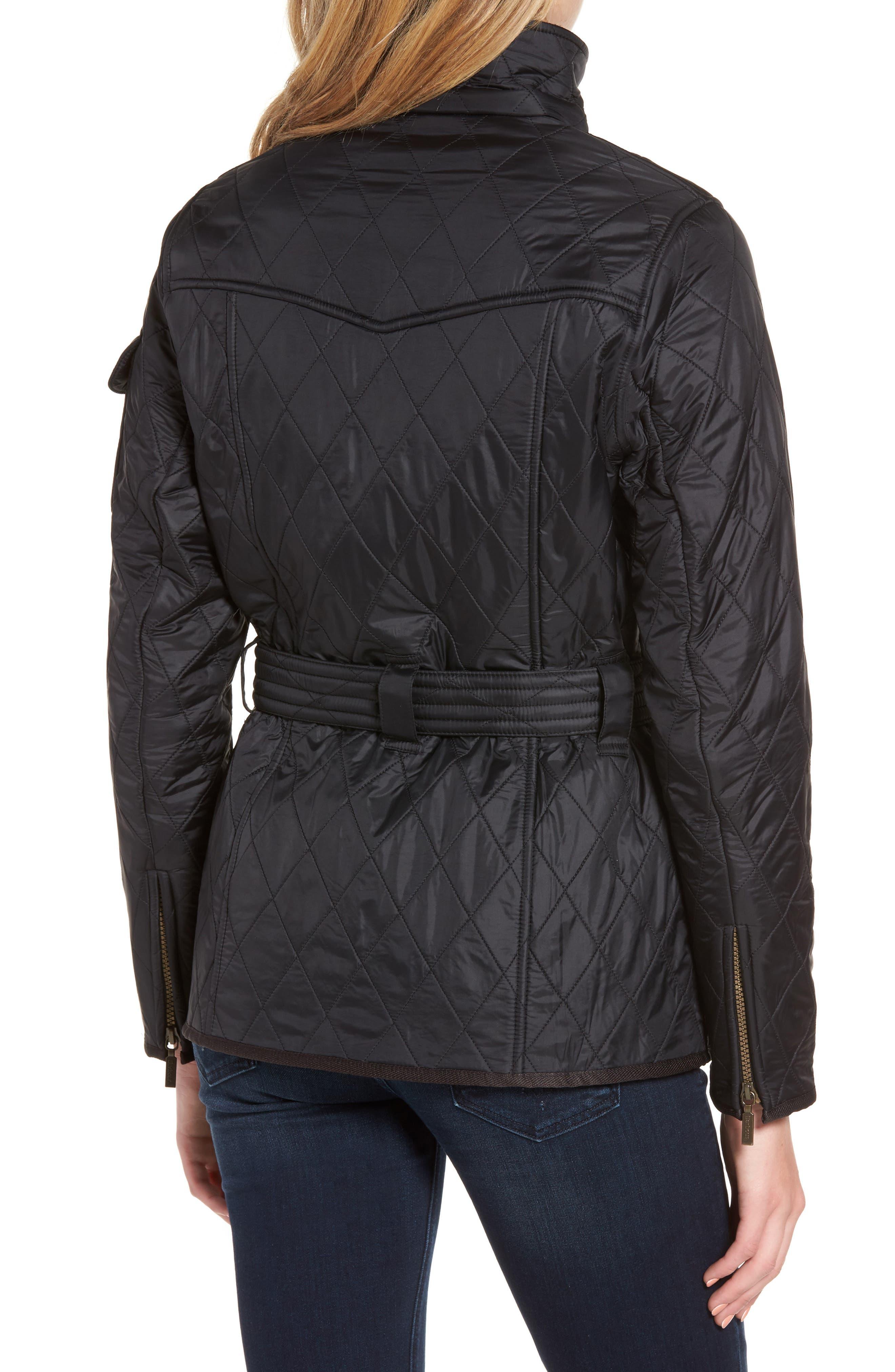 Water Resistant Polarquilt Moto Jacket,                             Alternate thumbnail 2, color,                             Black / Black