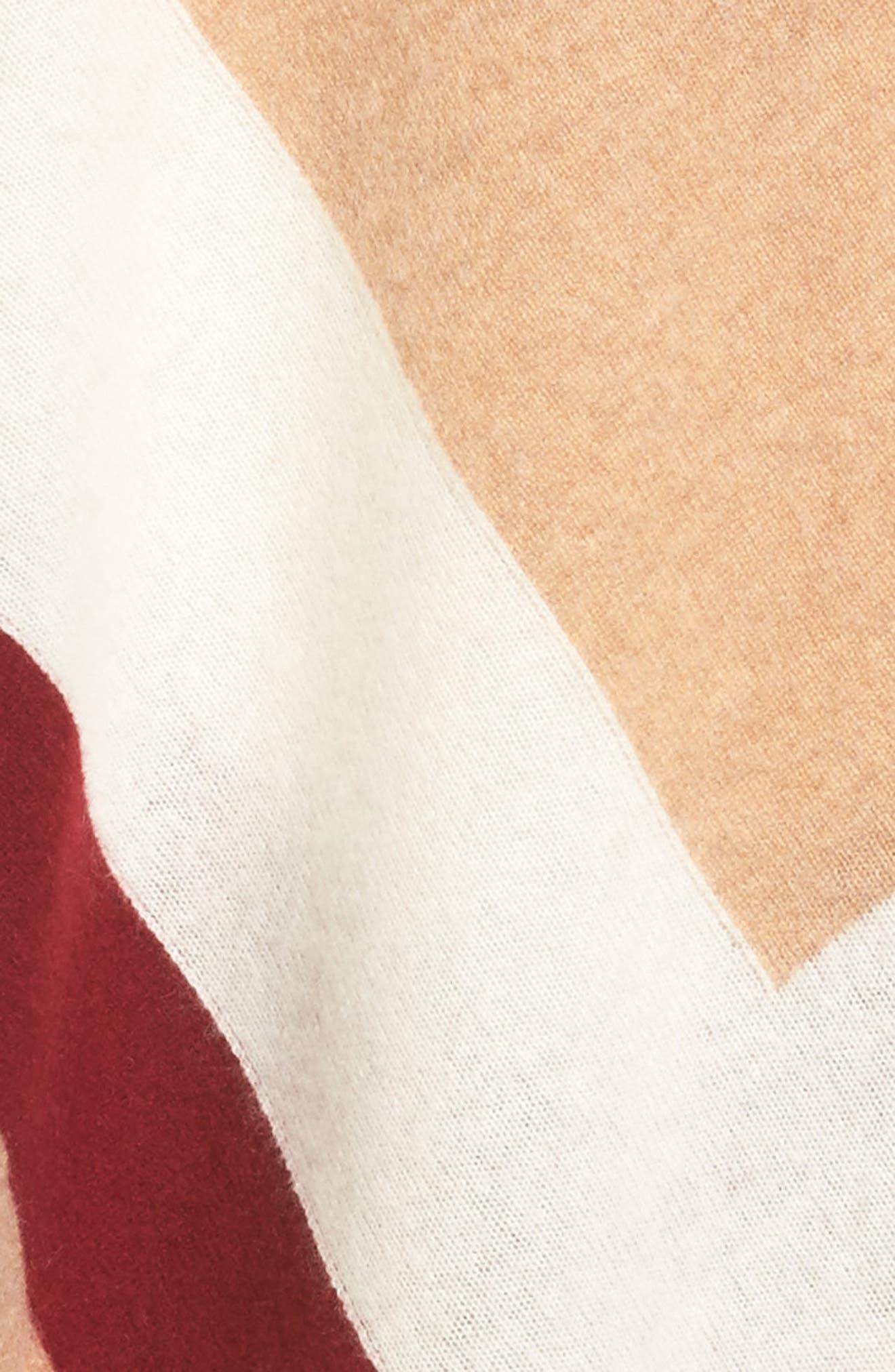 Tassel Trim Cashmere Wrap,                             Alternate thumbnail 5, color,                             Tan Camel Heather Combo