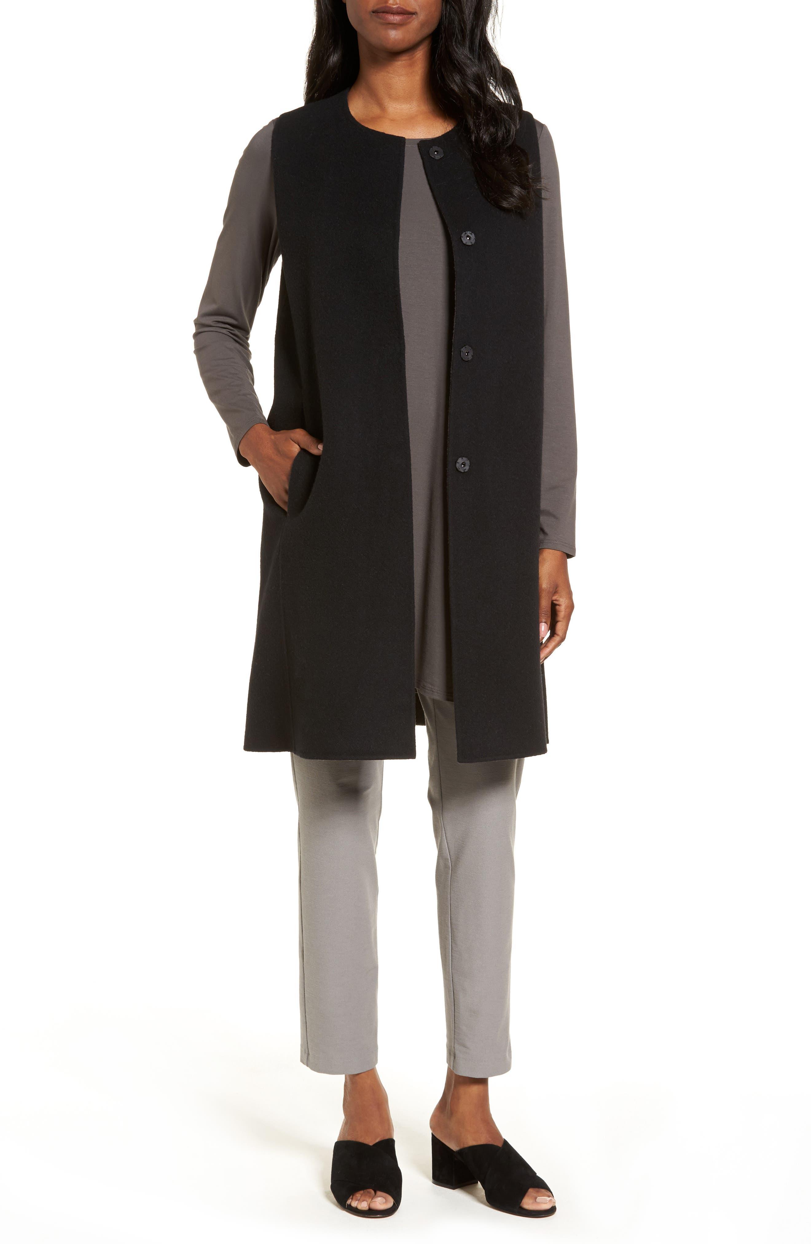 Long Wool Blend Vest,                         Main,                         color, Black/ Bark
