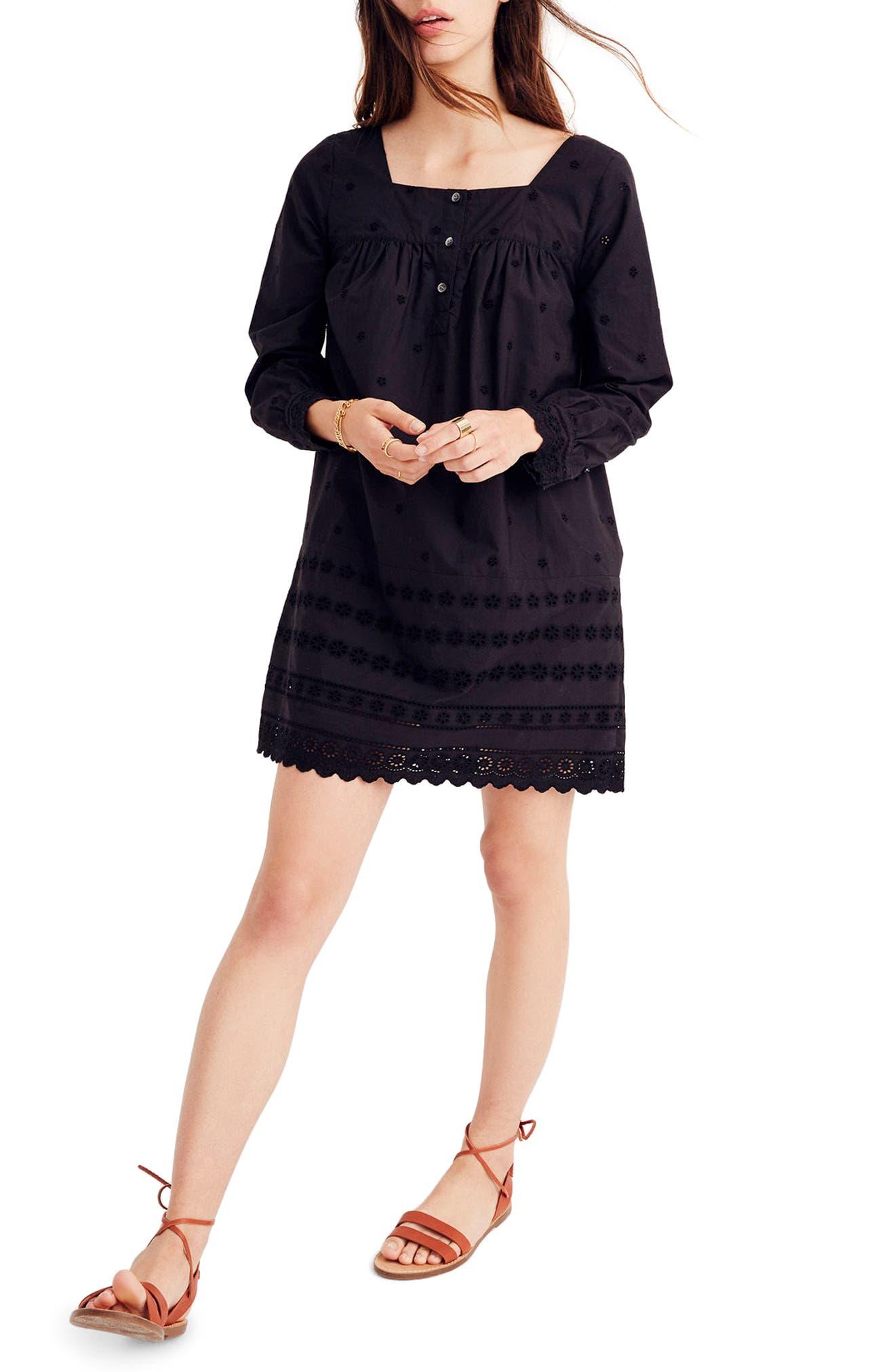 Madewll Eyelet Trim Shift Dress,                         Main,                         color, True Black