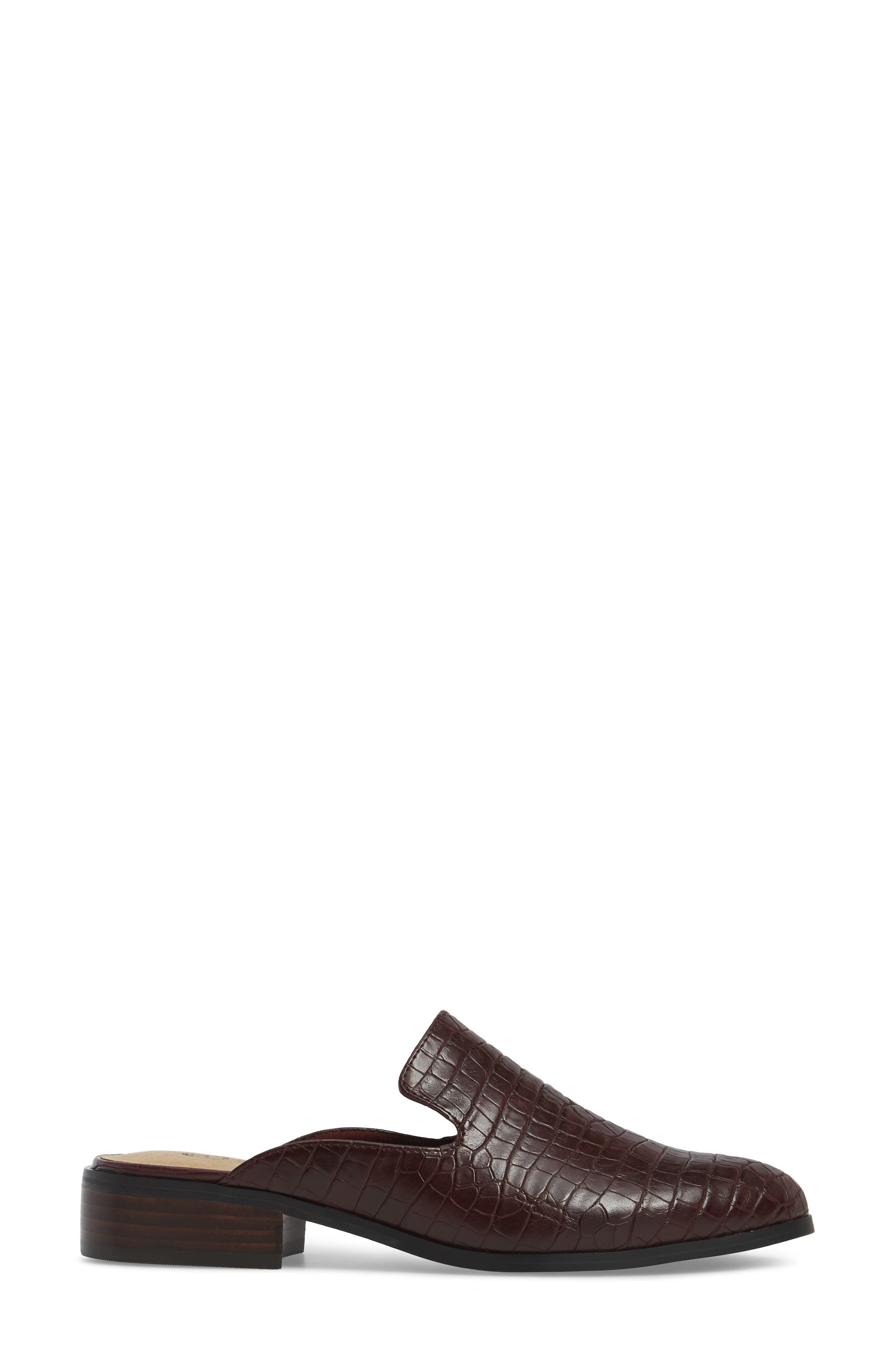 Briar II Loafer Mule,                             Alternate thumbnail 3, color,                             Burgundy Faux Crocodile