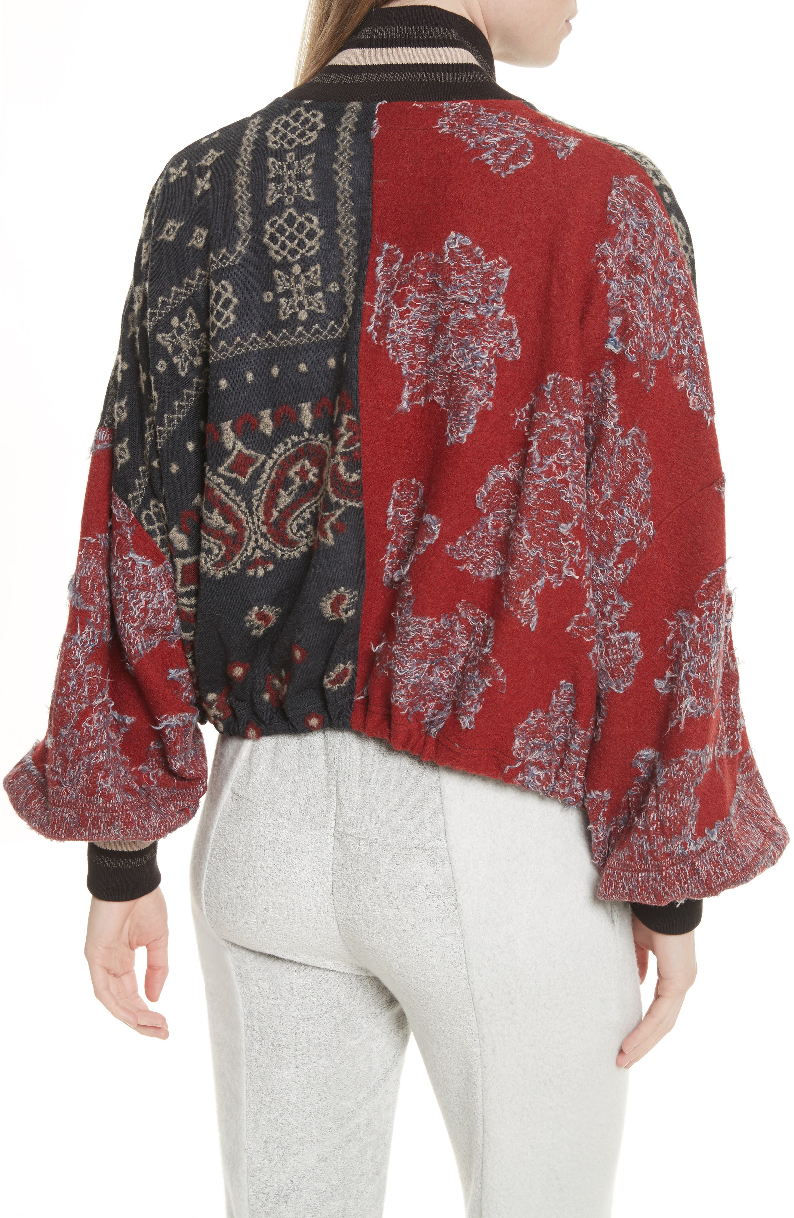 Paisley Bomber Jacket,                             Alternate thumbnail 2, color,                             Black Combo