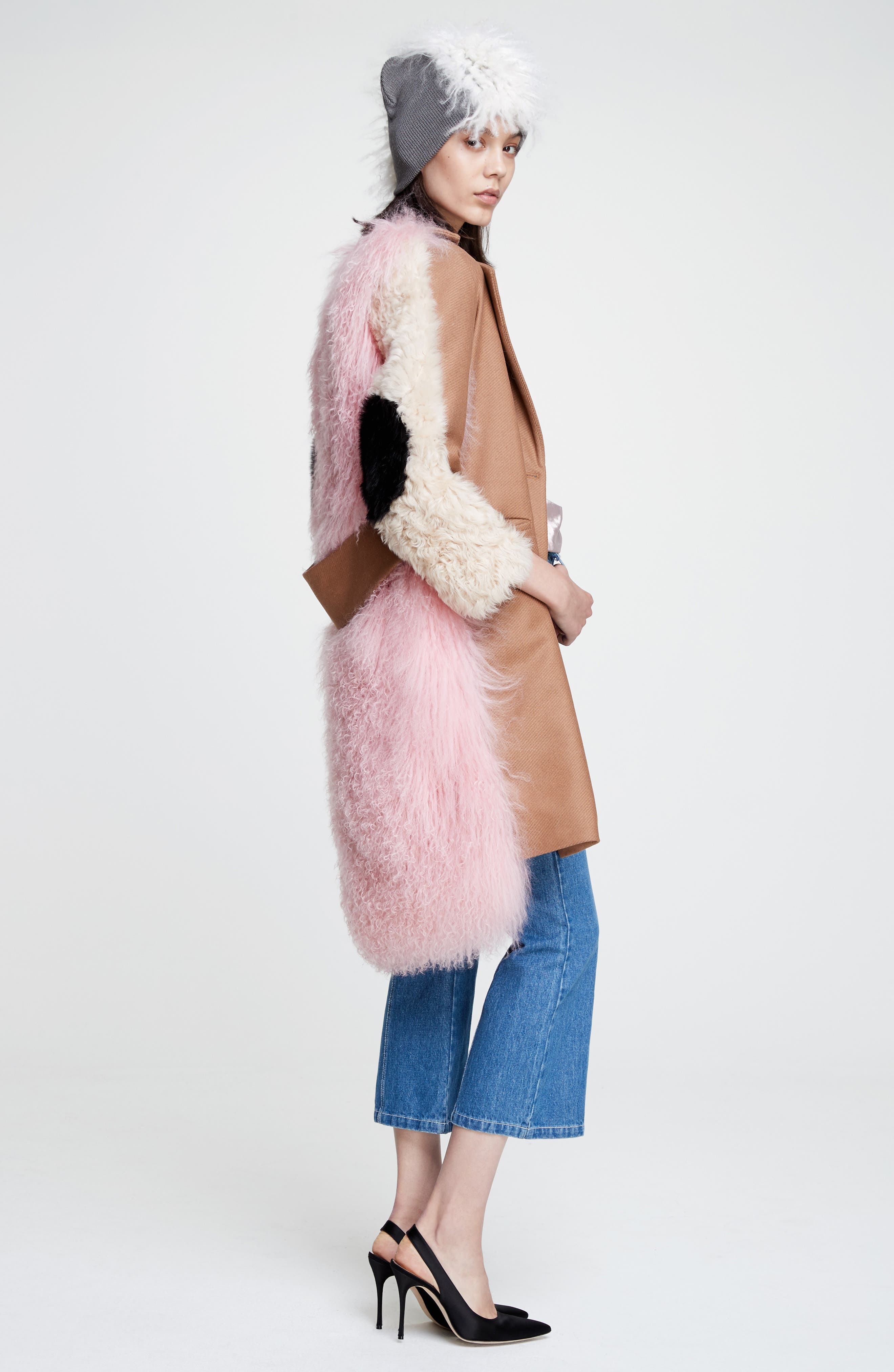 Mingo Wool Blend & Genuine Shearling Coat,                             Alternate thumbnail 2, color,                             Curry Pink