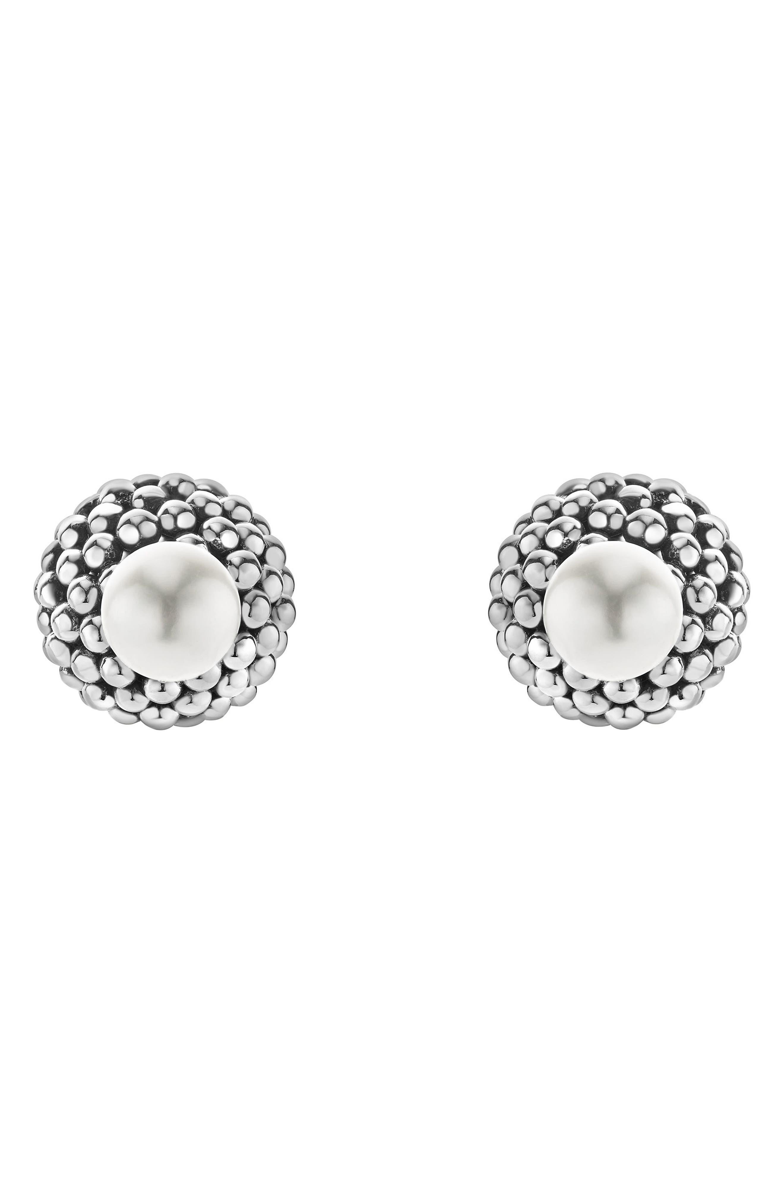 Caviar & Pearl Stud Earrings,                         Main,                         color, Pearl