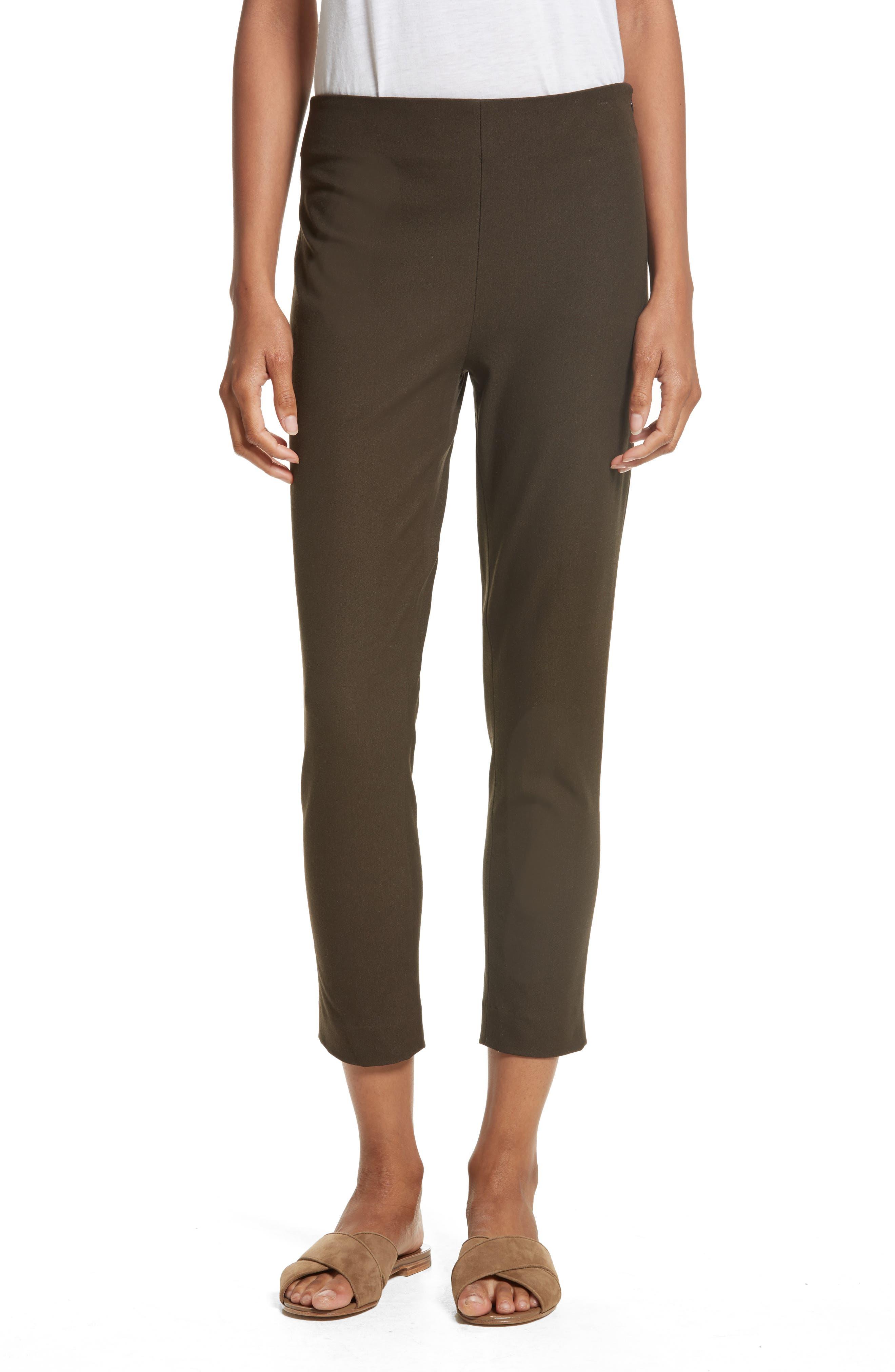 New Tony Gabardine Crop Pants,                         Main,                         color, Chocolate