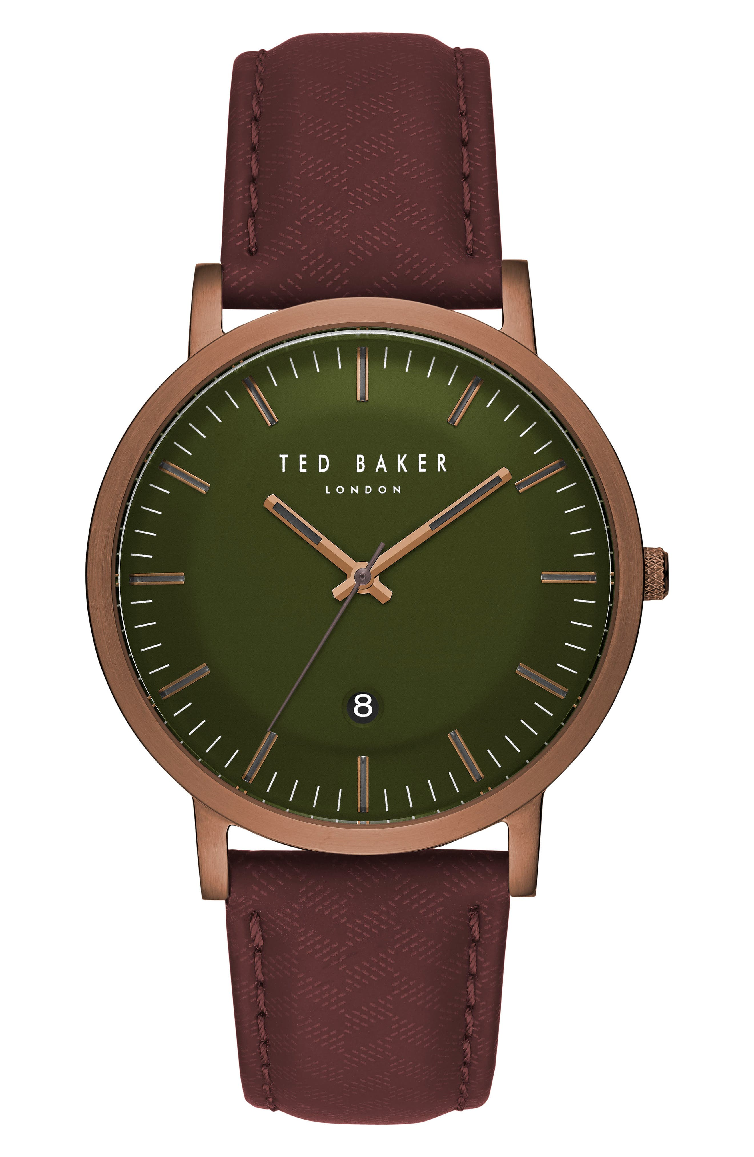 David Leather Strap Watch, 40mm,                             Main thumbnail 1, color,                             Green/ Dark Red