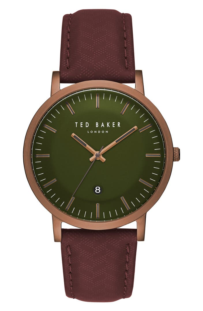 Ted baker london david leather strap watch 40mm nordstrom for Watches 40mm
