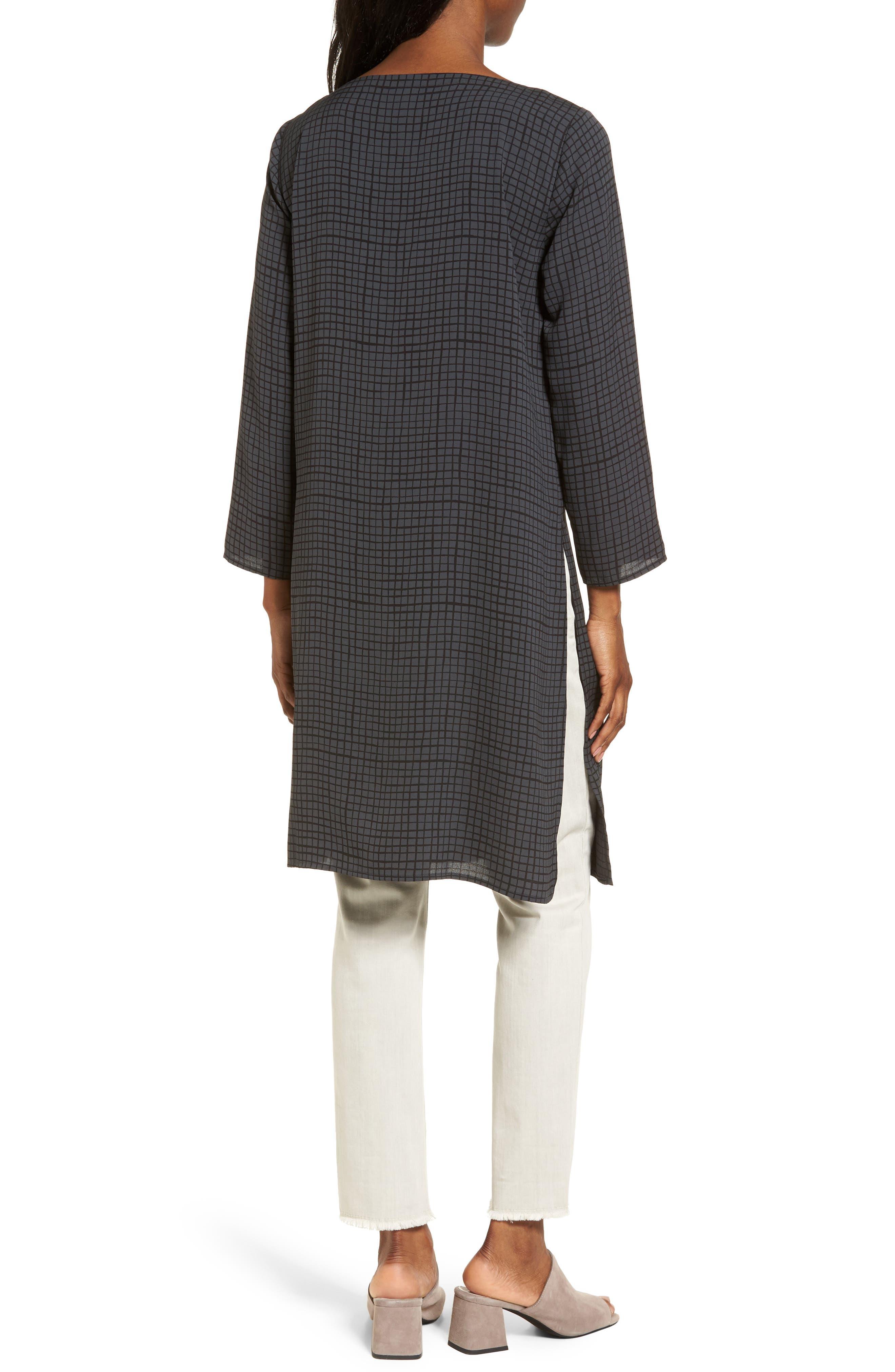 Alternate Image 2  - Eileen Fisher Check Silk Tunic