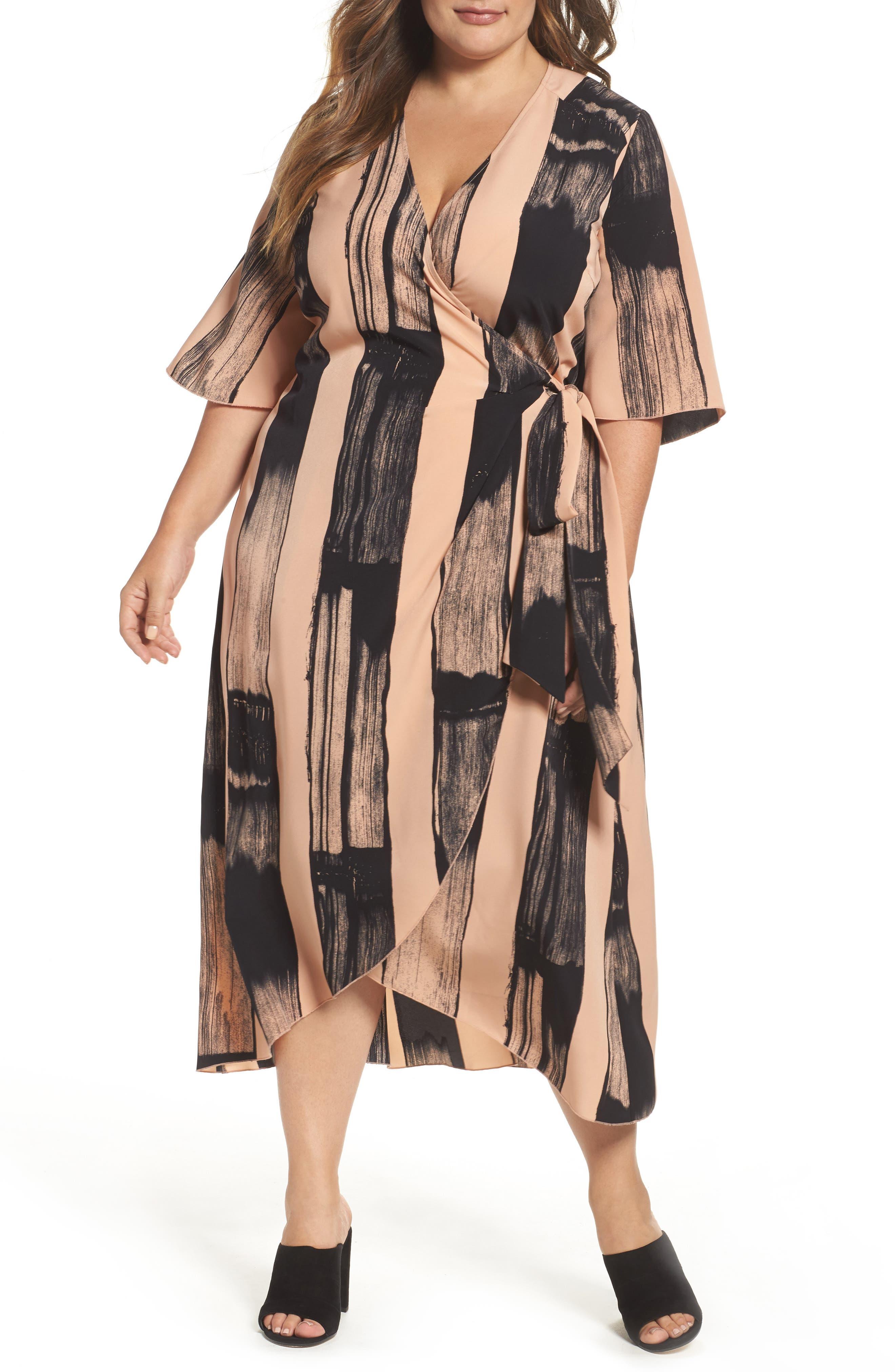 Melissa McCarthy Seven7 Print Wrap Dress (Plus Size)