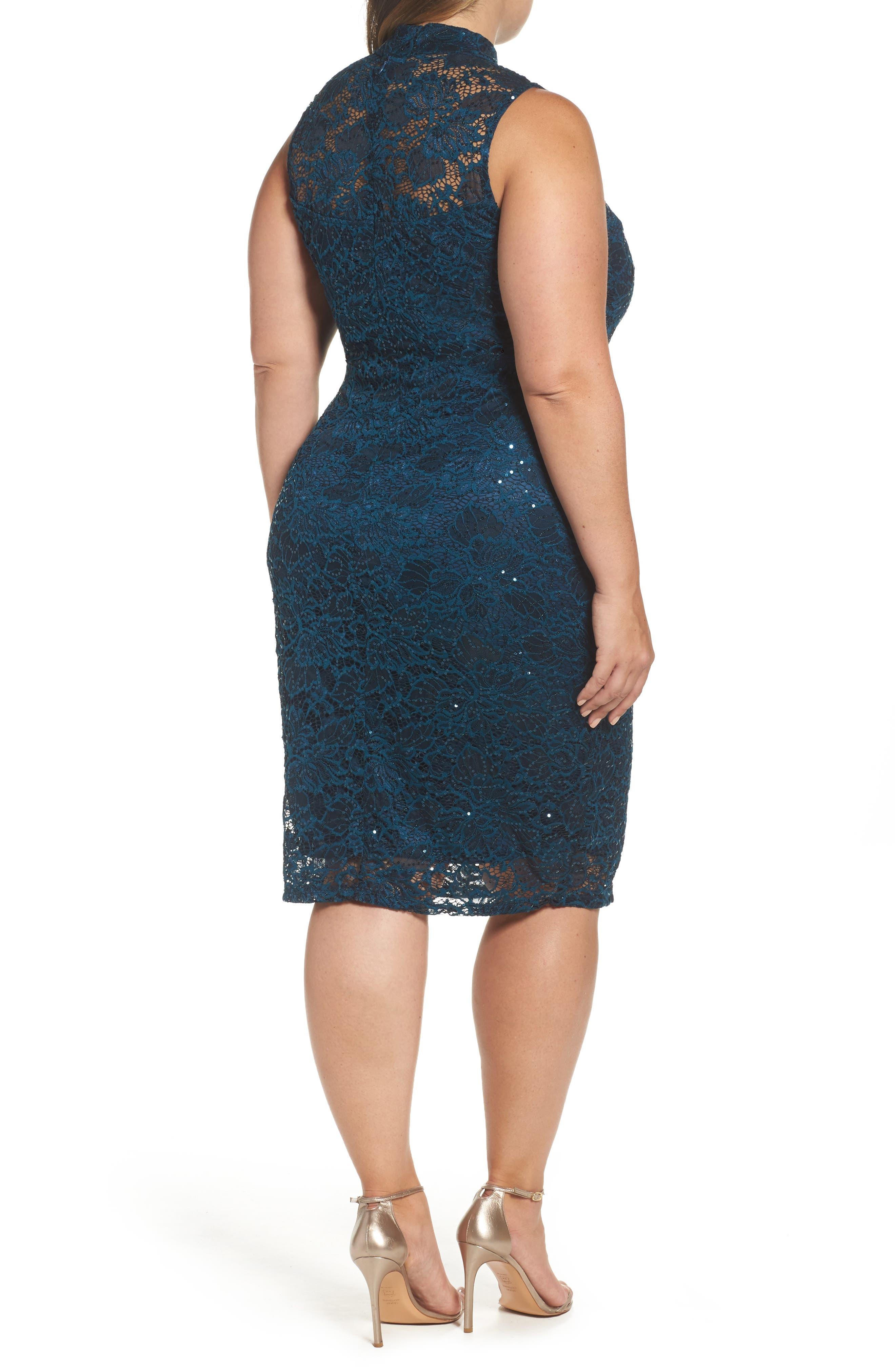Sequin Lace Sheath Dress,                             Alternate thumbnail 2, color,                             Teal