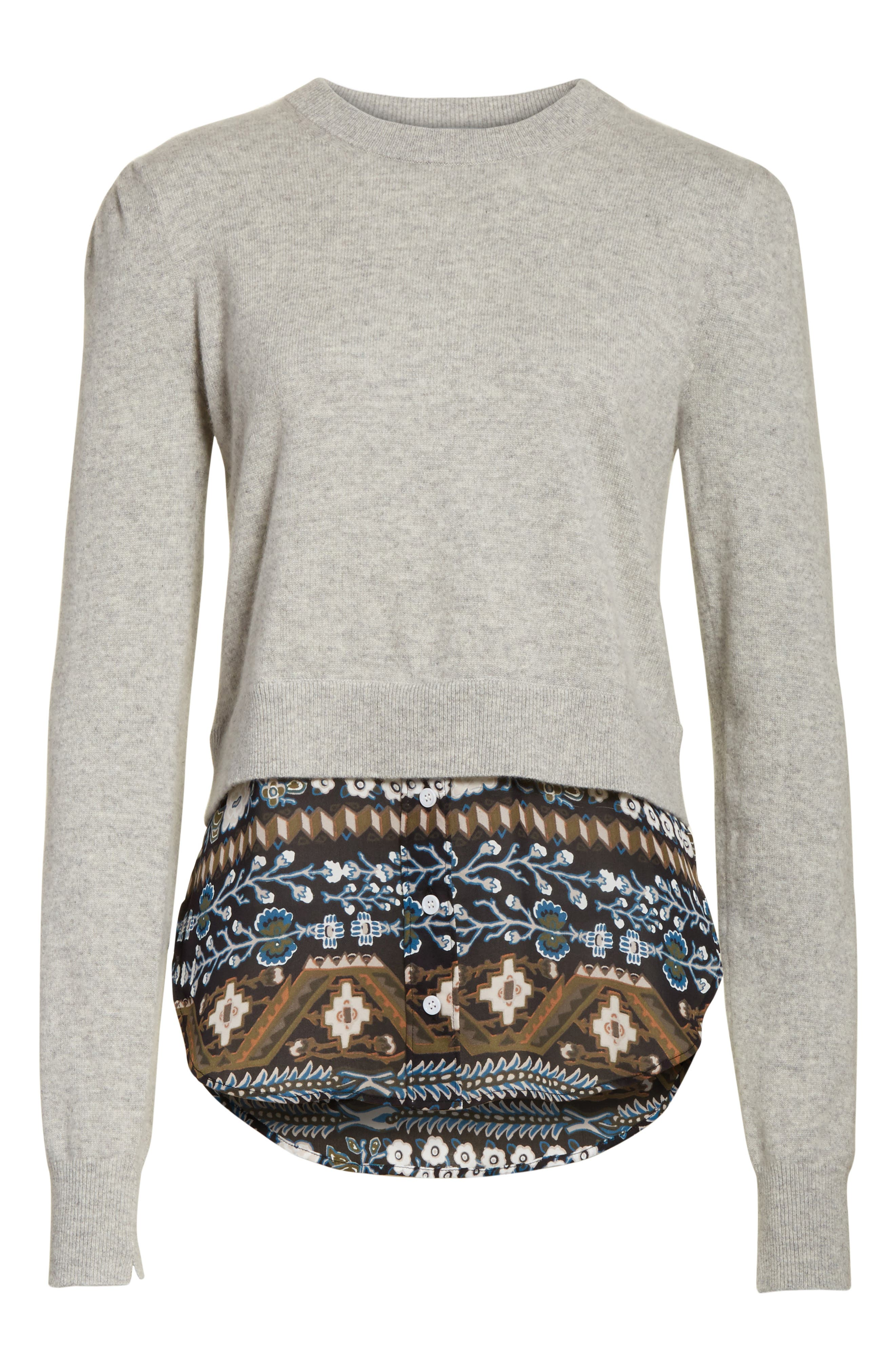 Jenson Layered Hem Cashmere Sweater,                             Alternate thumbnail 6, color,                             Grey/ Army/ Black Aztec Print