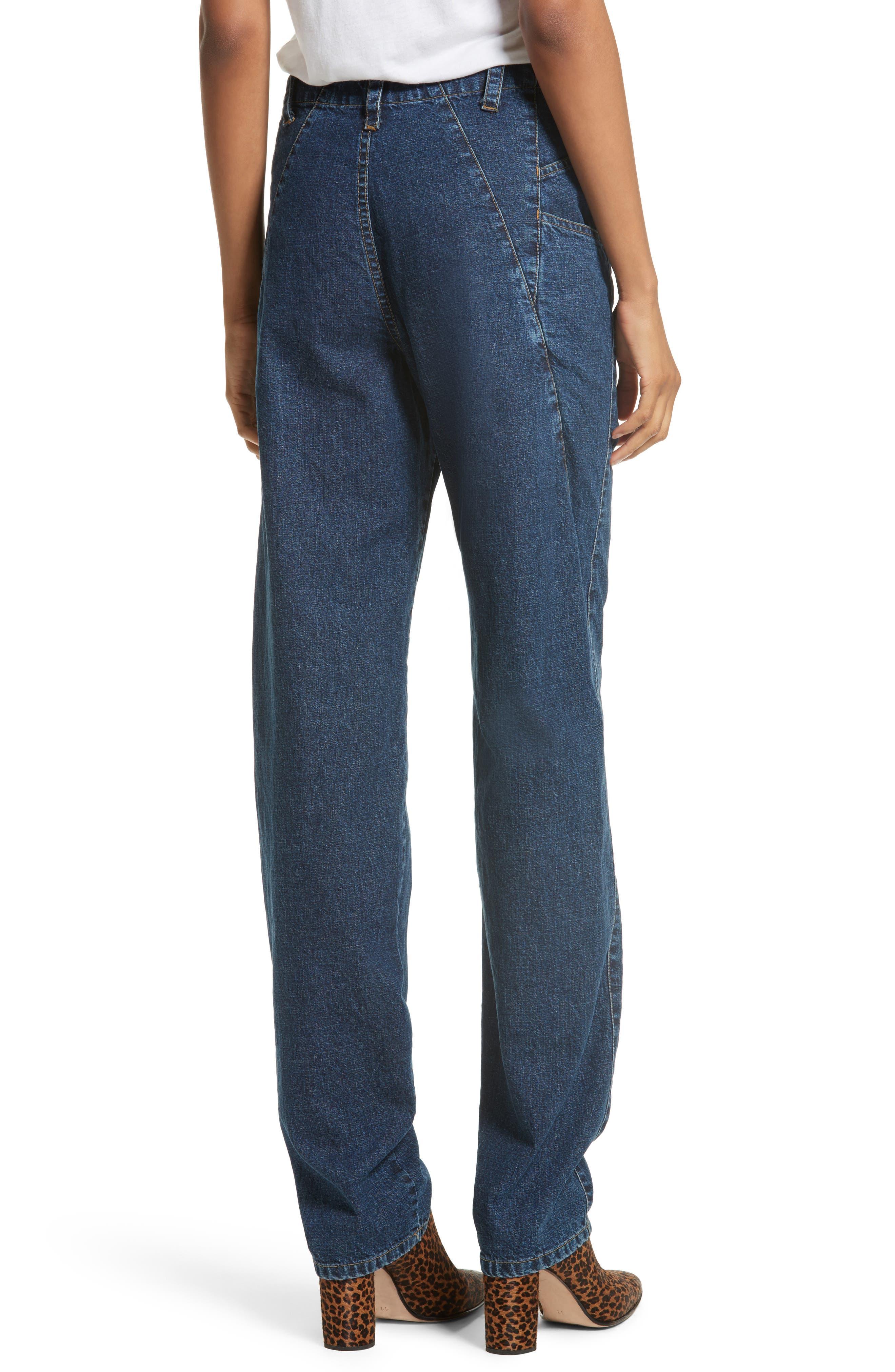 Long Trigger Straight Leg Jeans,                             Alternate thumbnail 2, color,                             Classic Indigo
