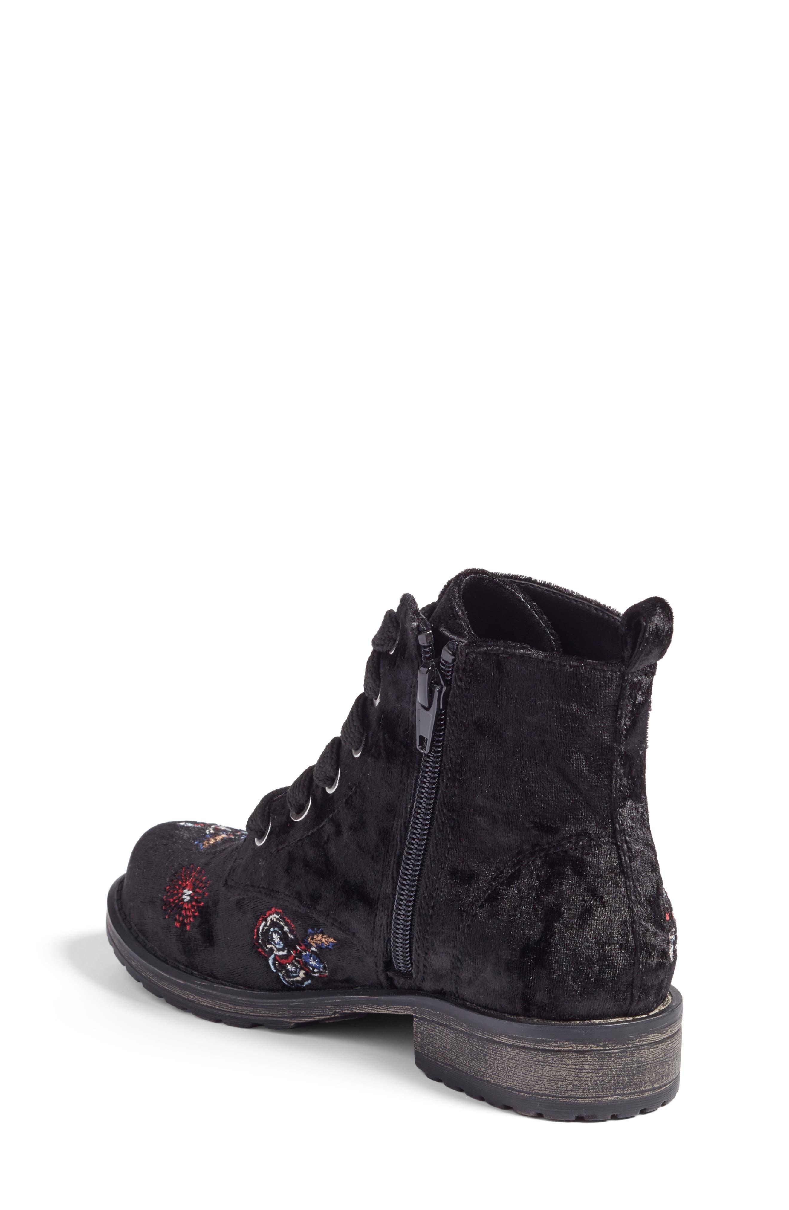 Lilla Combat Boot,                             Alternate thumbnail 2, color,                             Black Multi Velvet