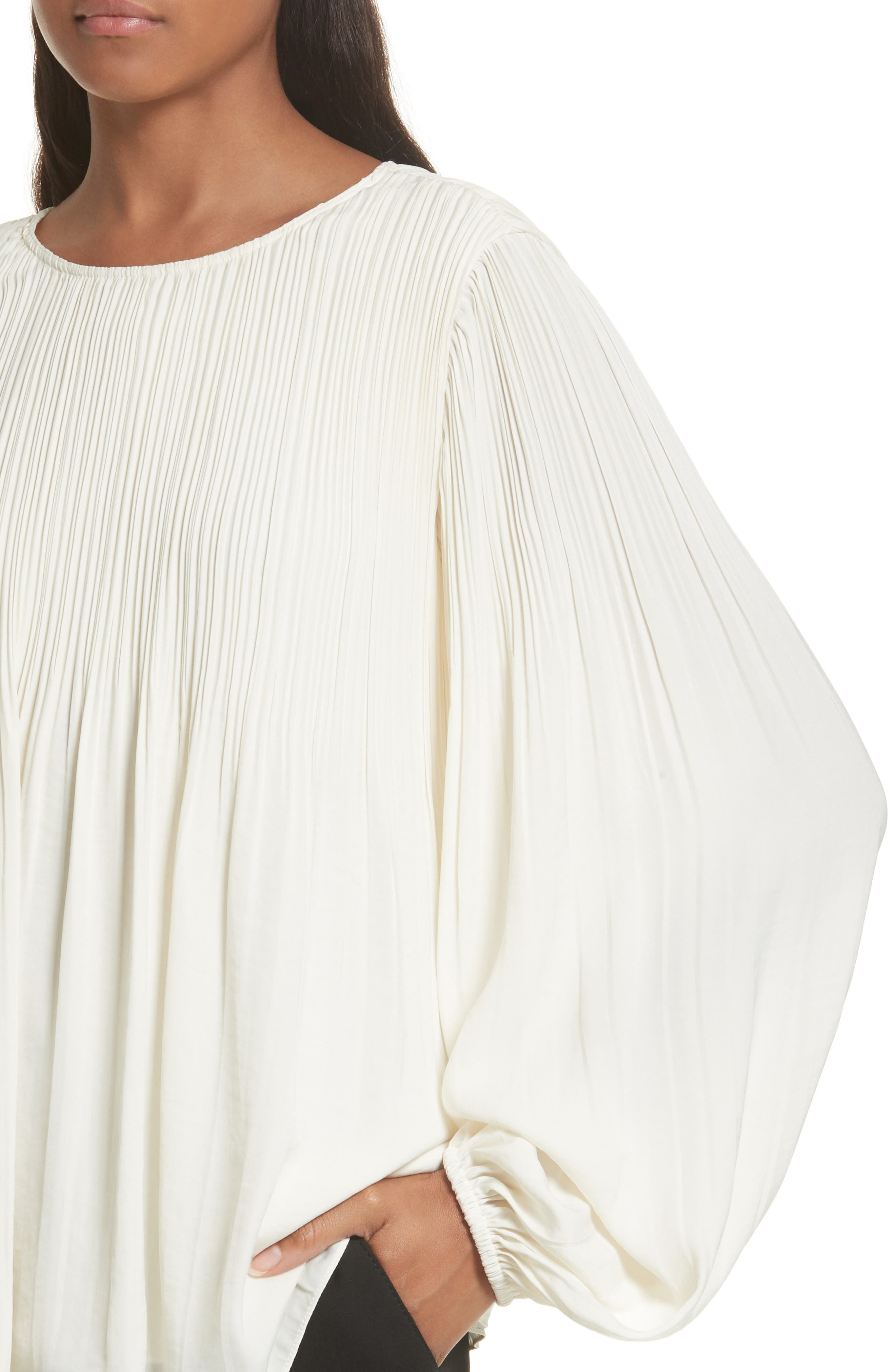 Grove Pleated Blouse,                             Alternate thumbnail 4, color,                             Alabaster