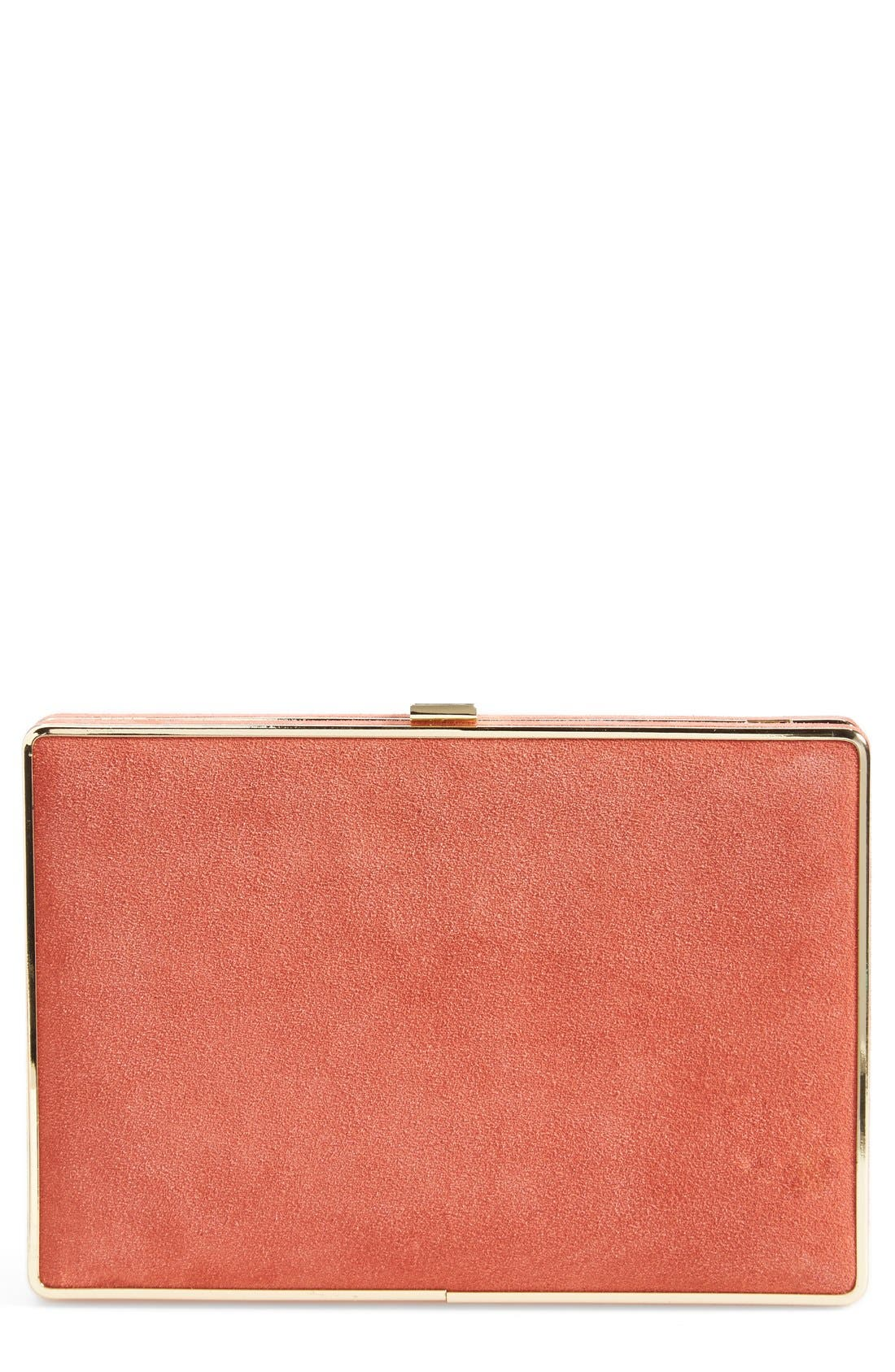 Suede Box Minaudiere,                         Main,                         color, Poppy