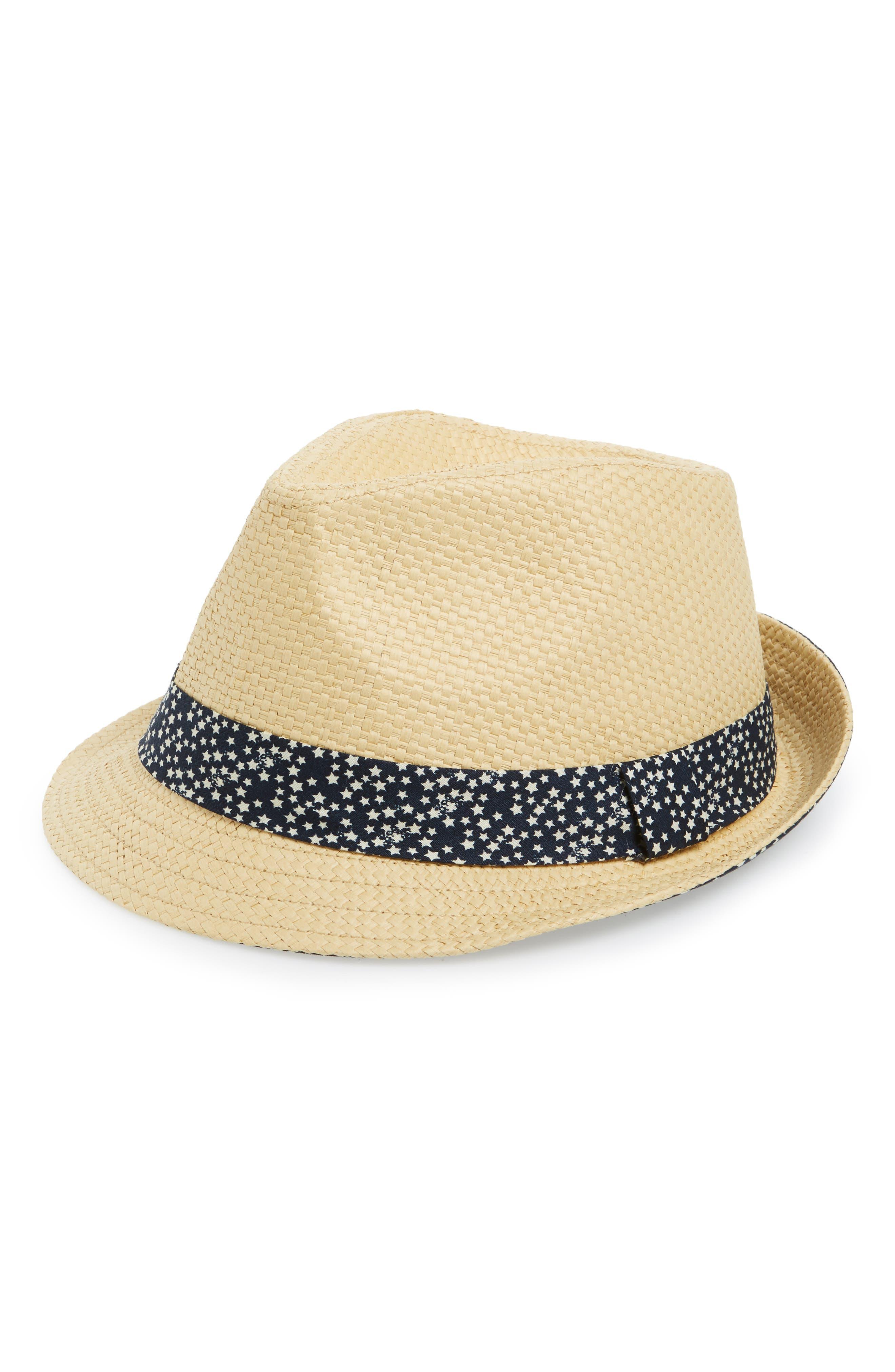 Emanuel Geraldo Print Band Straw Fedora Hat