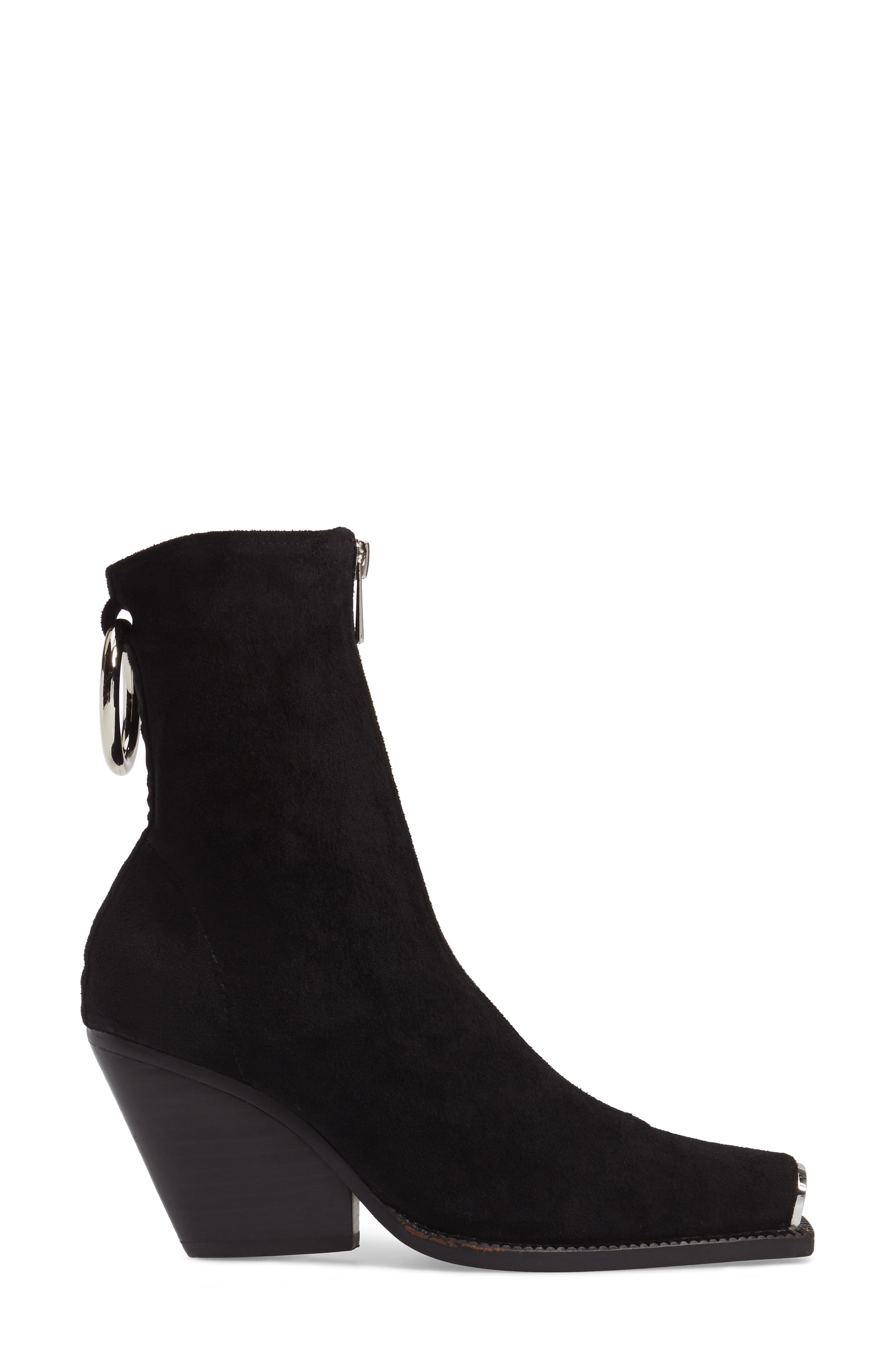 Eubank Stretch Bootie,                             Alternate thumbnail 3, color,                             Black Stretch Suede