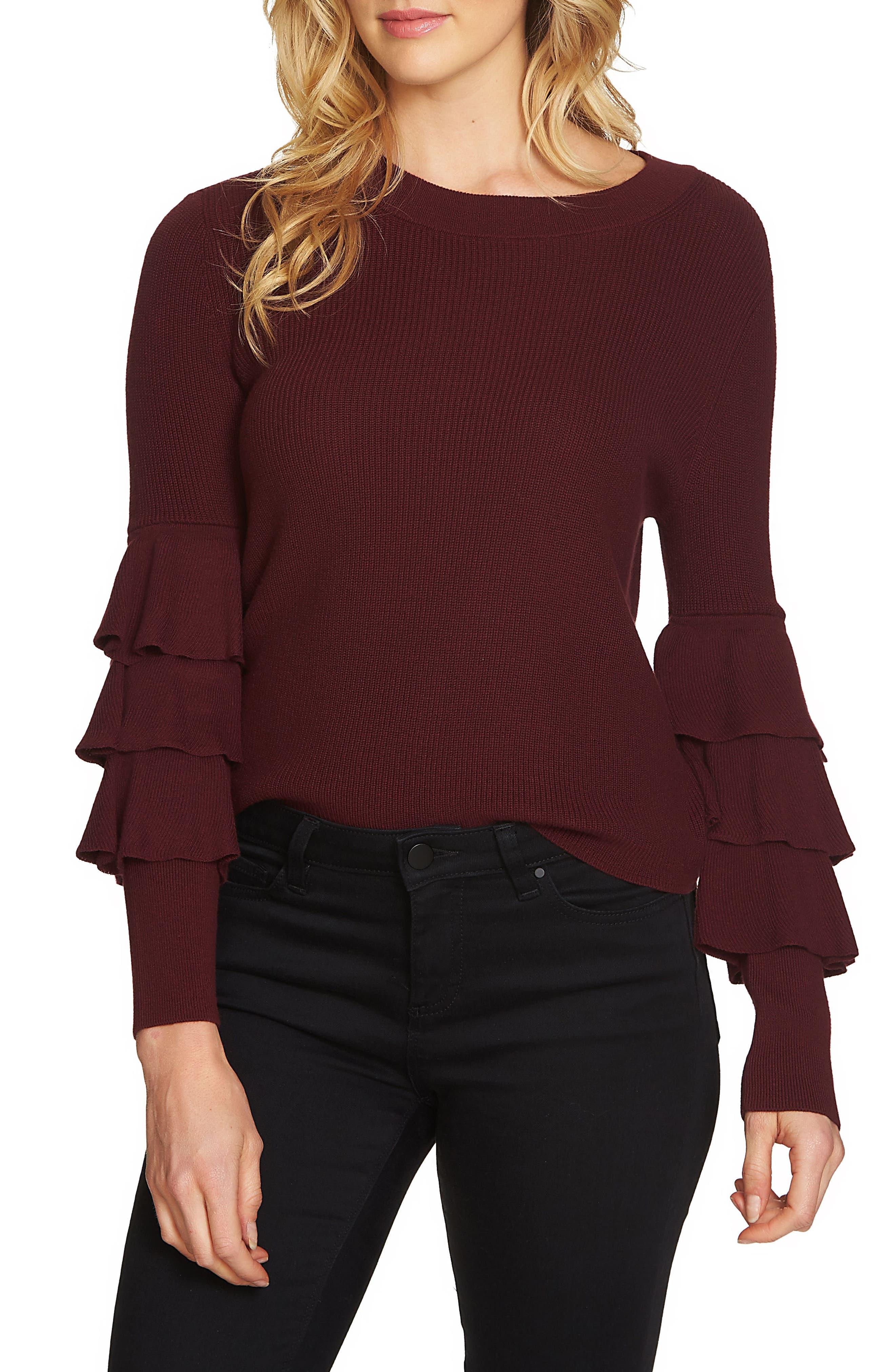 1.STATE Tiered Ruffle Sleeve Sweater