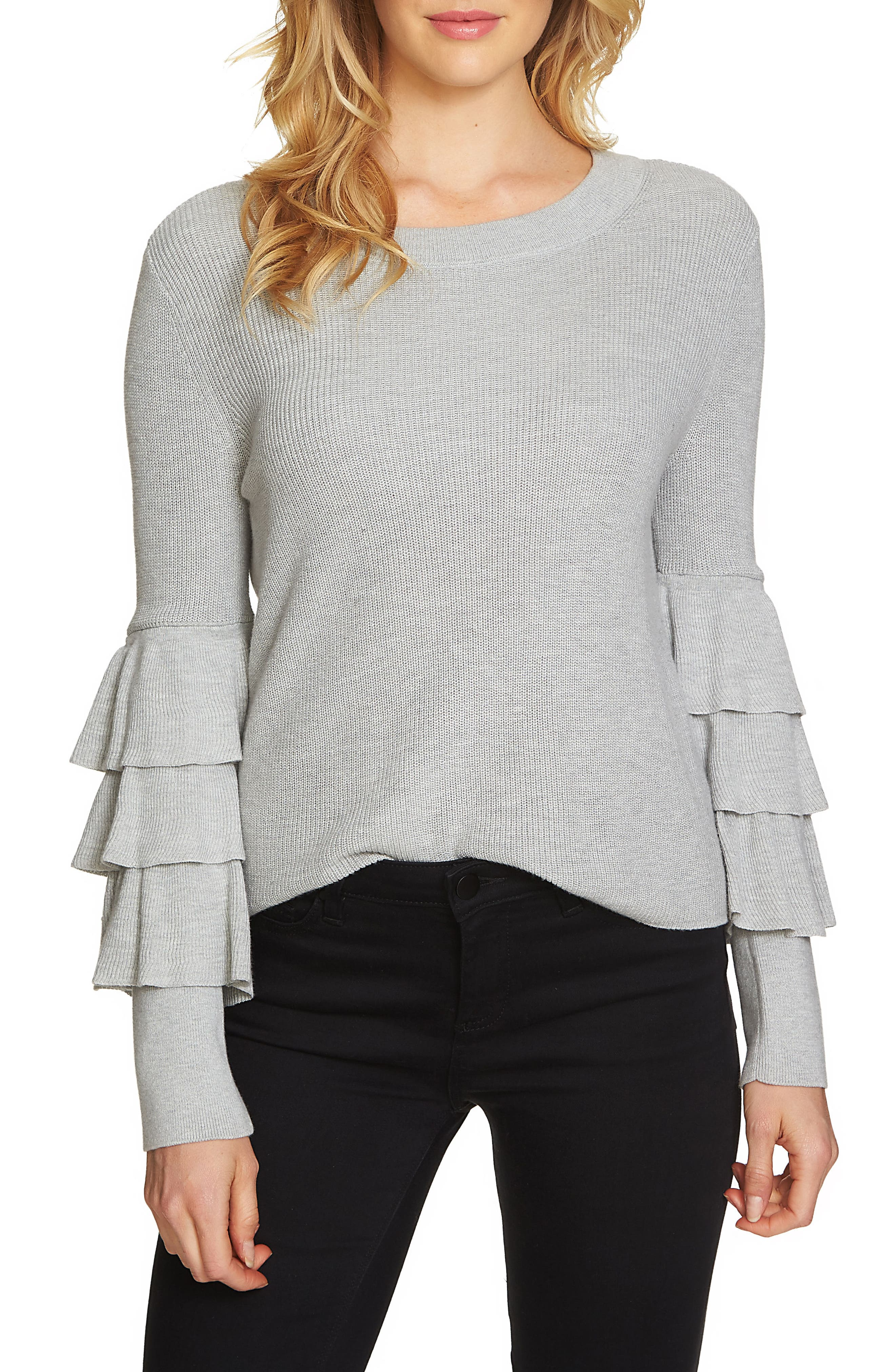 Tiered Ruffle Sleeve Sweater,                         Main,                         color, Grey Heather
