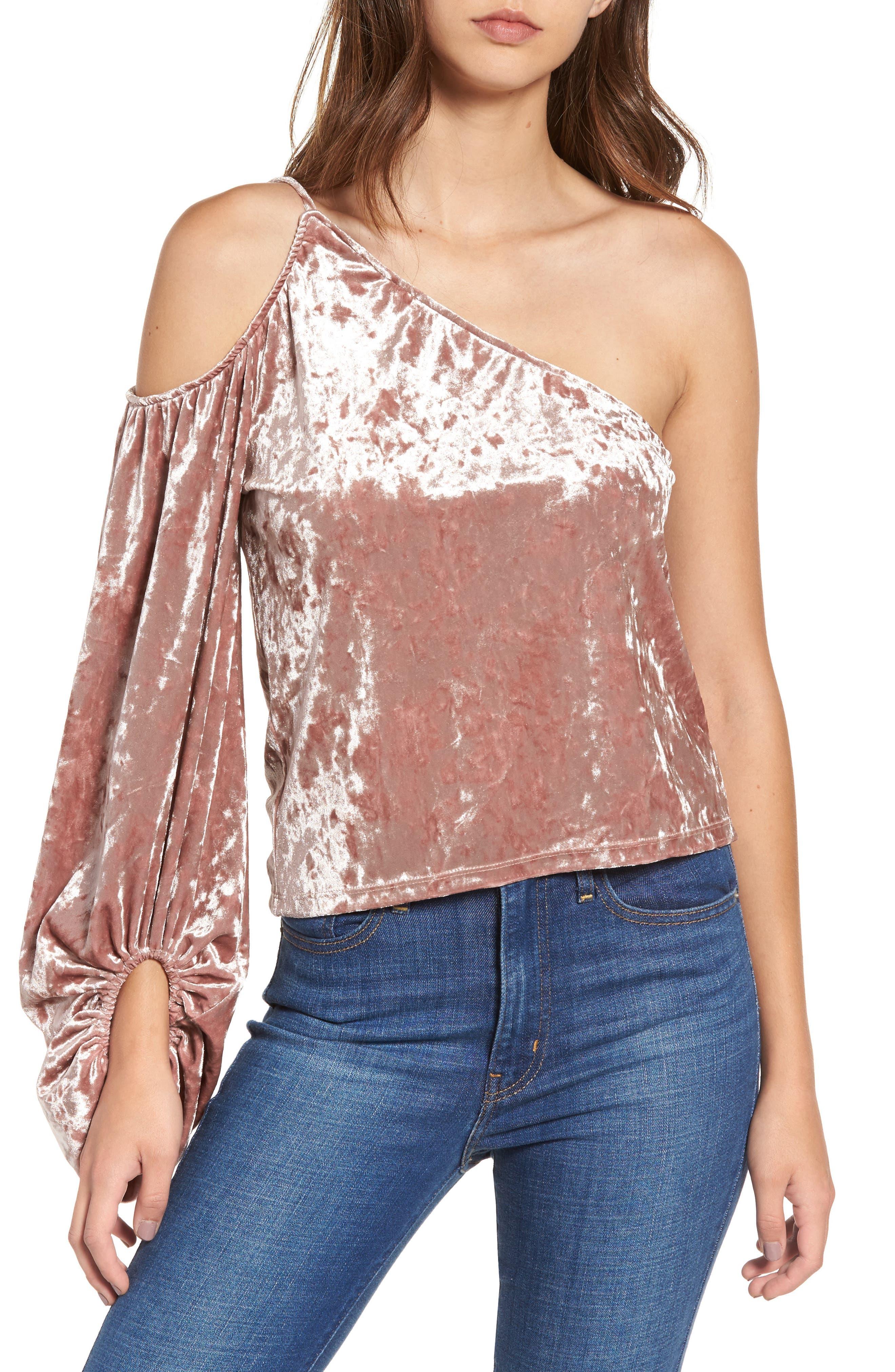 One-Shoulder Velour Top,                         Main,                         color, Pink Adobe