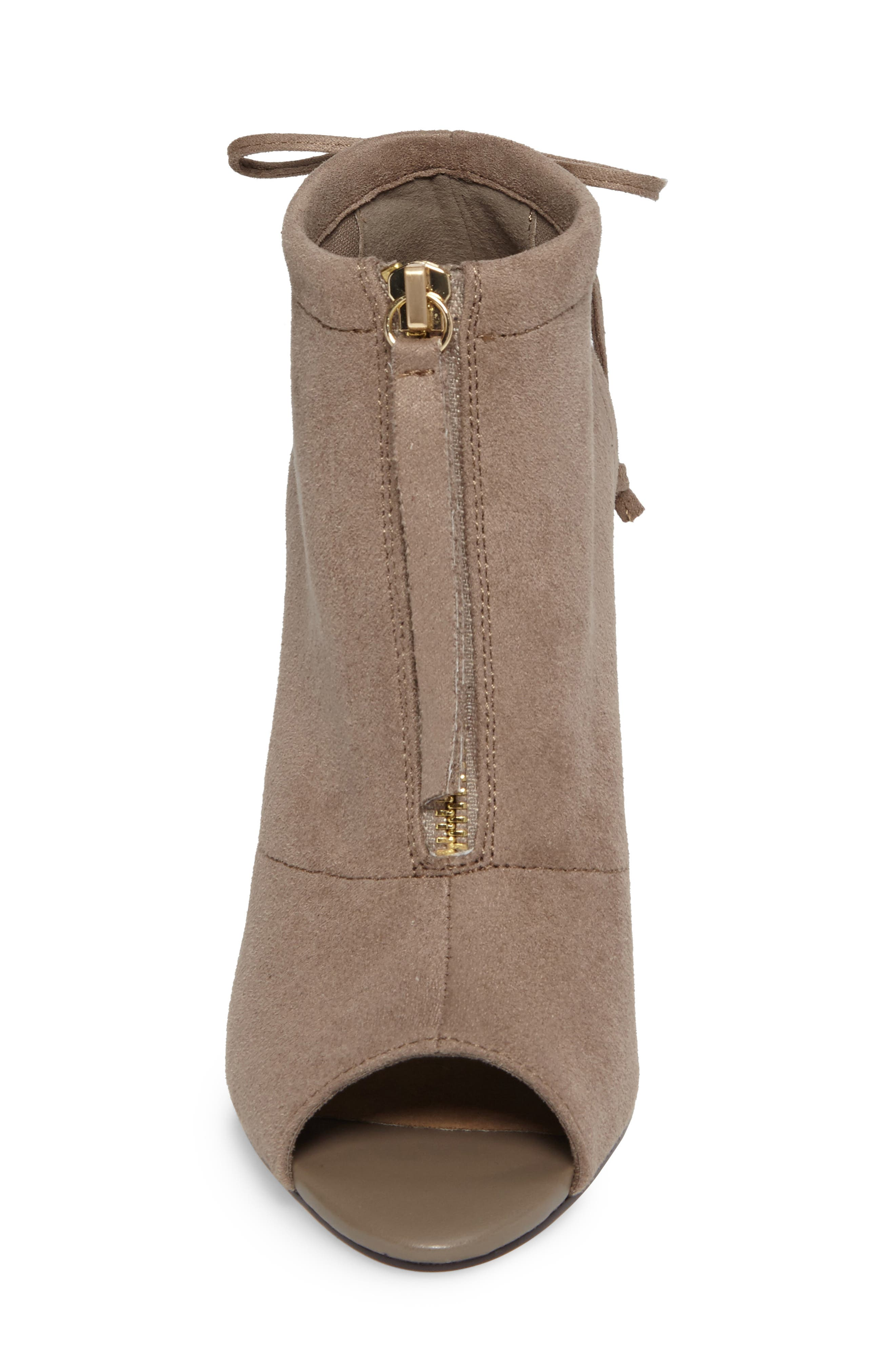 Nicky II Zip Front Bootie,                             Alternate thumbnail 4, color,                             Stone Faux Suede