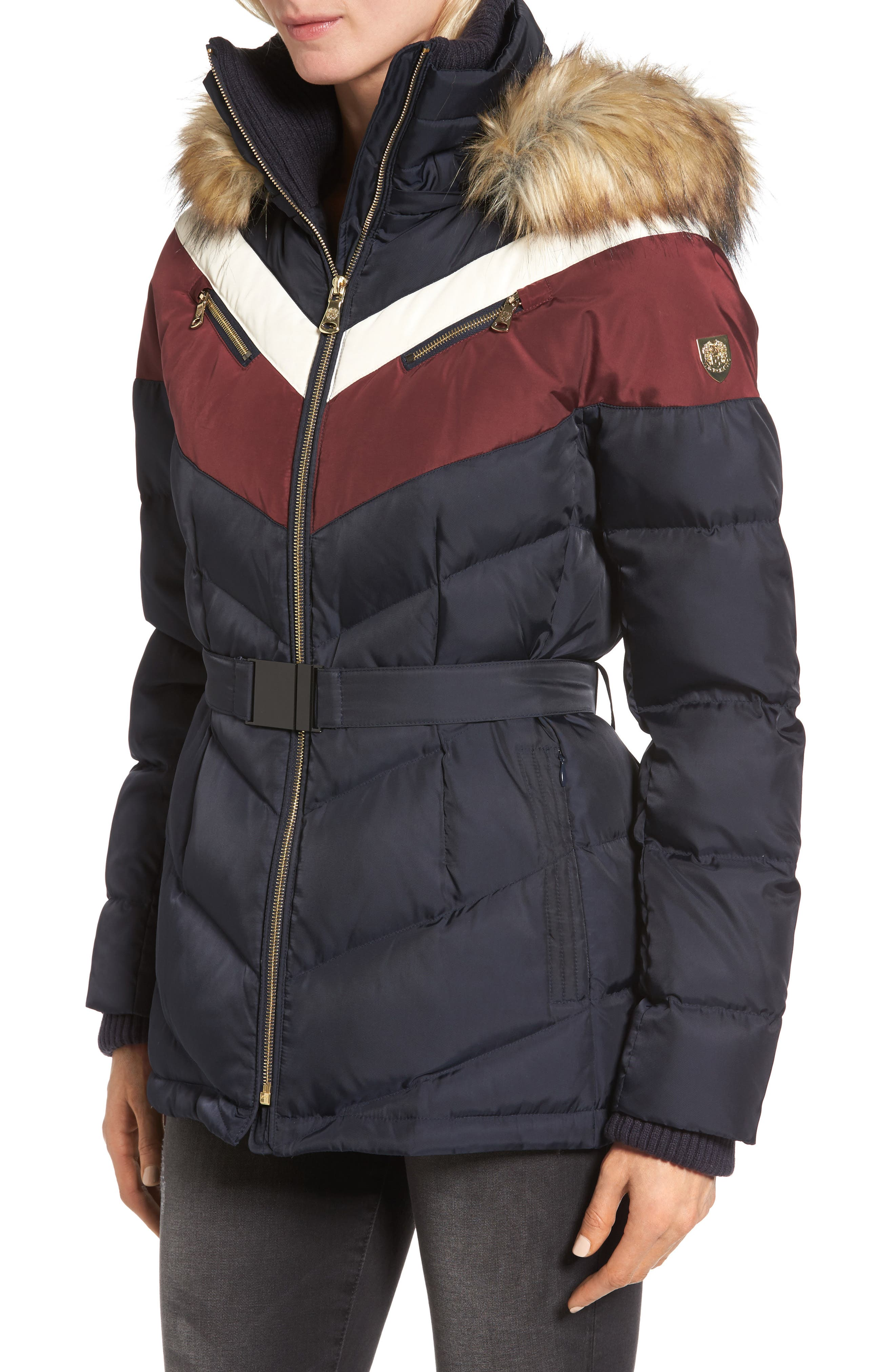 Belted Down & Feather Fill Coat with Faux Fur Trim Hood,                             Alternate thumbnail 3, color,                             Navy/Multi