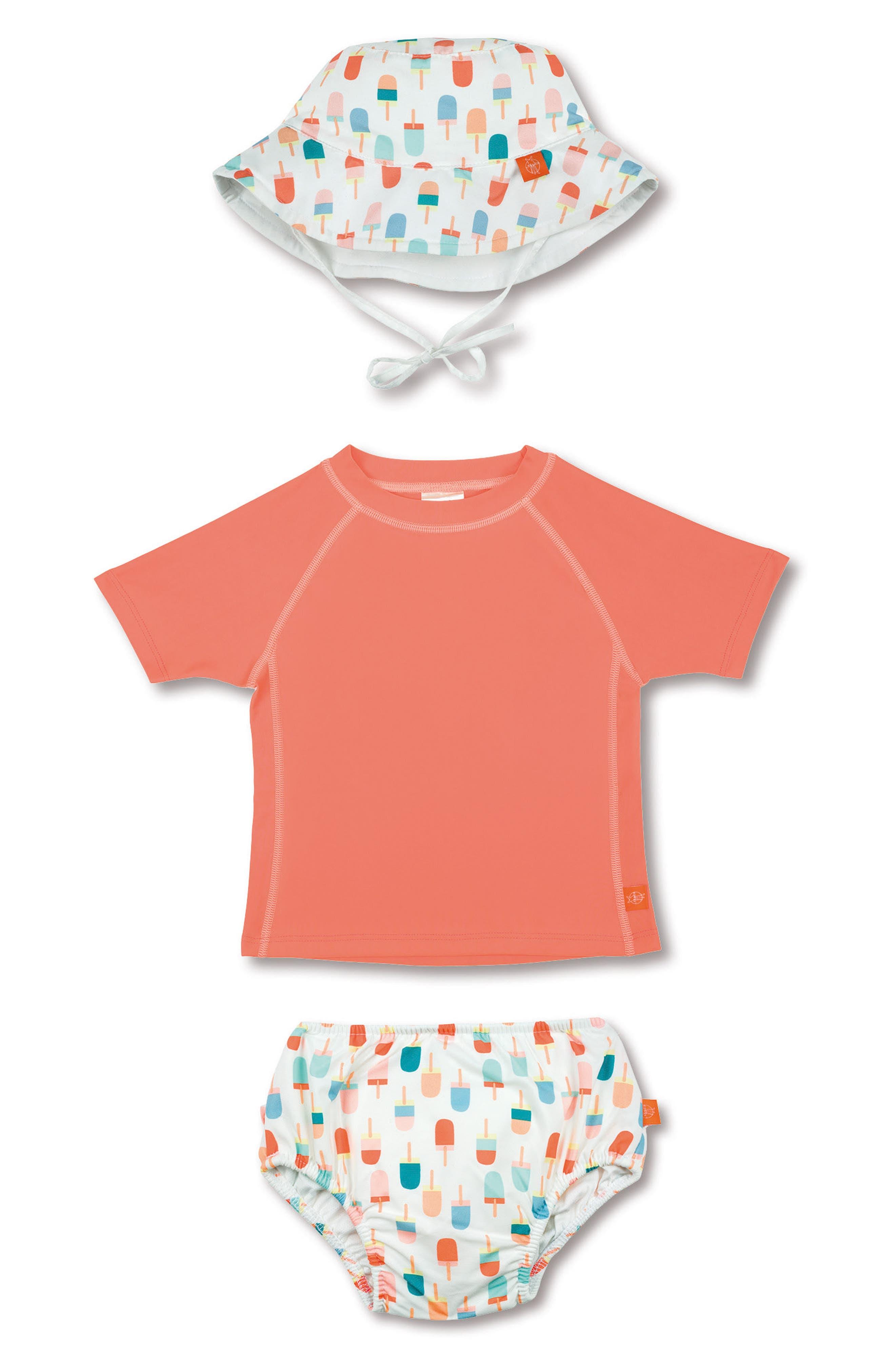 Lassig Two-Piece Rashguard Swimsuit & Hat Set,                         Main,                         color, Ice Cream