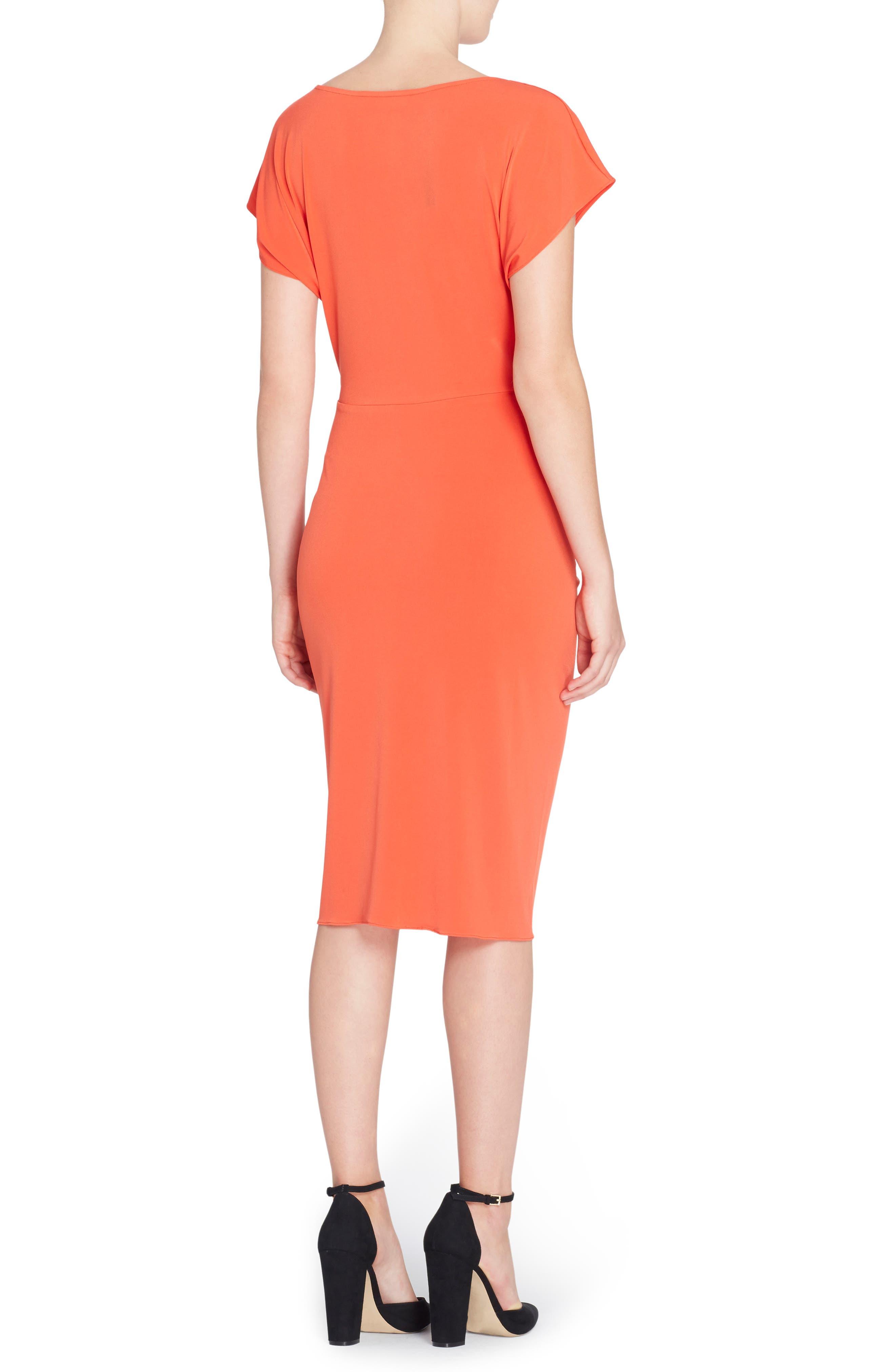 Char Stretch Jersey Sheath Dress,                             Alternate thumbnail 2, color,                             Poinciana