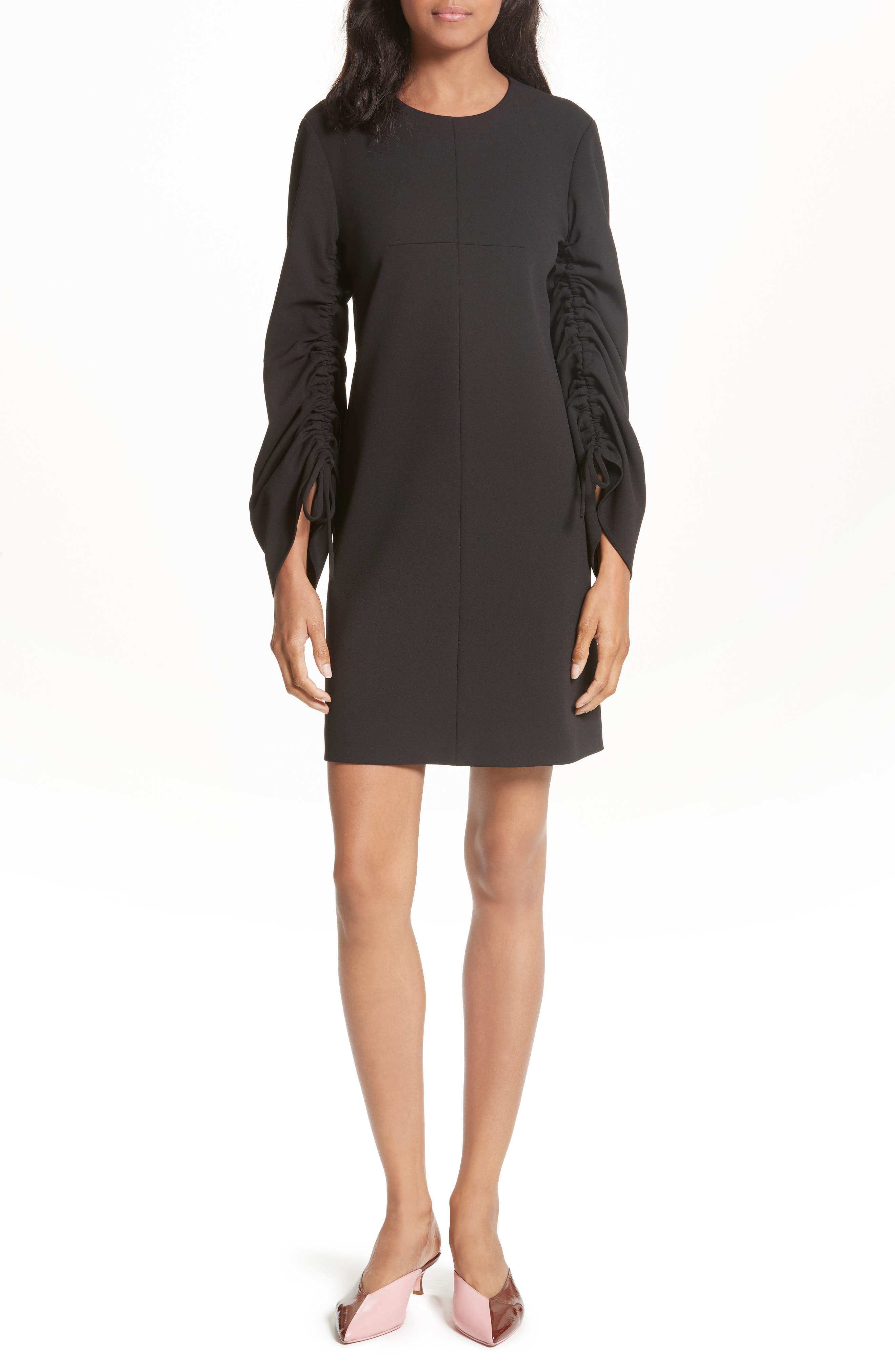 Crepe Ruched Sleeve Shift Dress,                         Main,                         color, Black