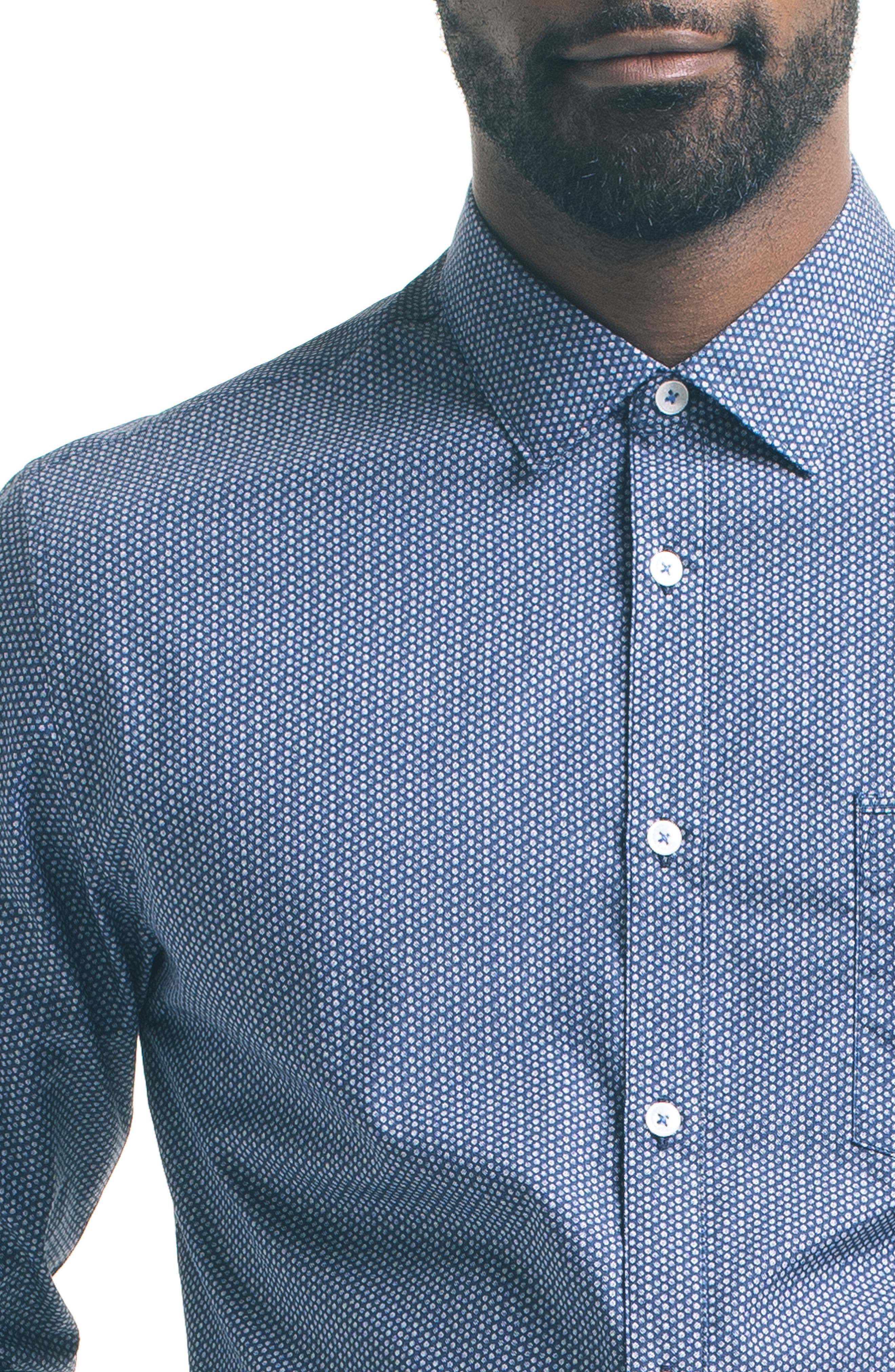 Slim Fit Microdot Sport Shirt,                             Alternate thumbnail 4, color,                             Blue